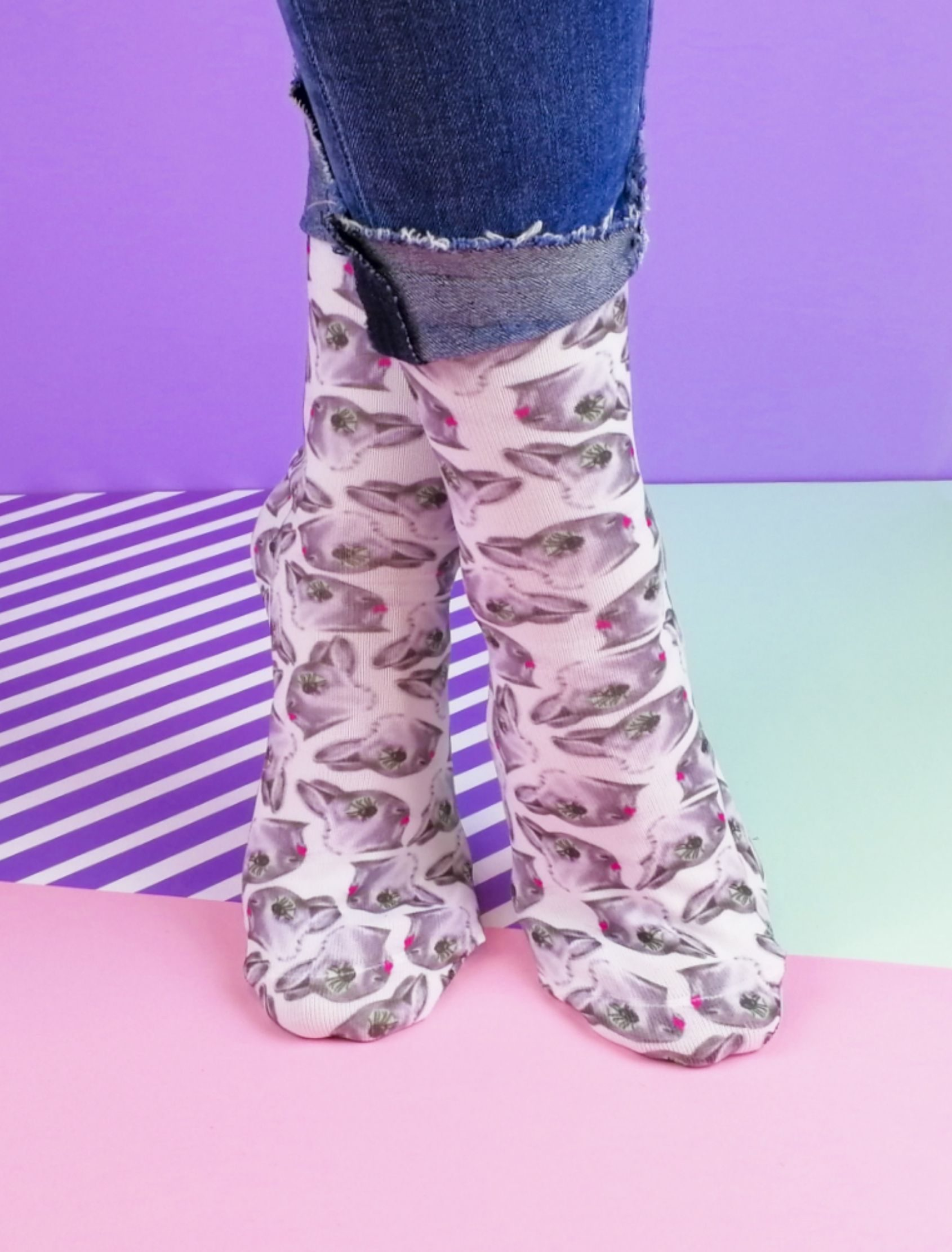 calcetines con estampado de conejos pop up de sweet paripe