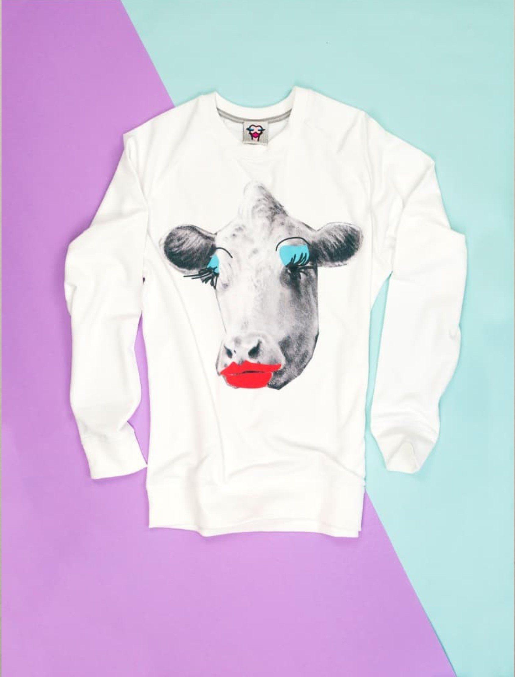"""""""Sudadera con dibujo de Vaca con morritos elaborada por Sweet paripe"""""""