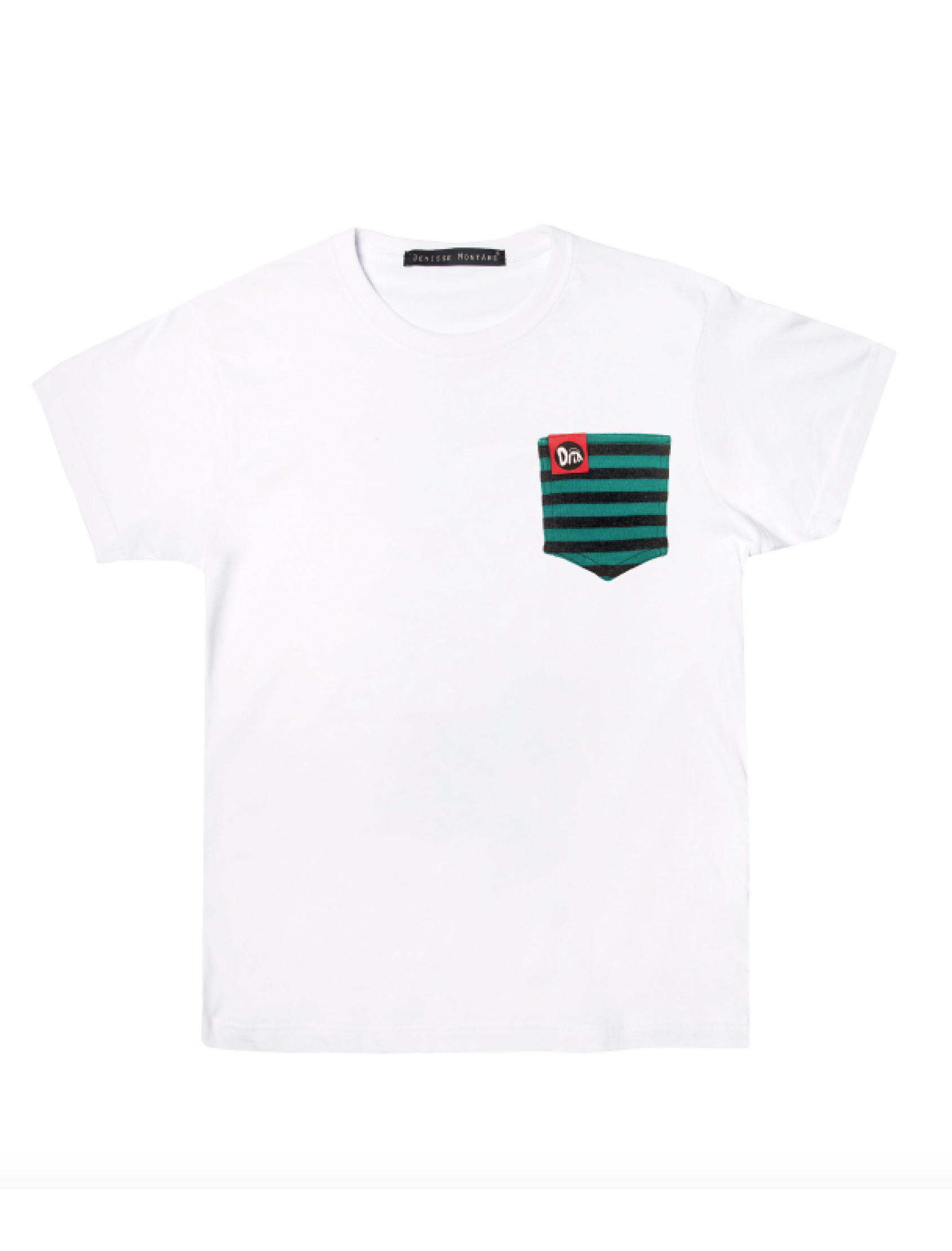 Camiseta BlancaGreen Stripes Pocket_01