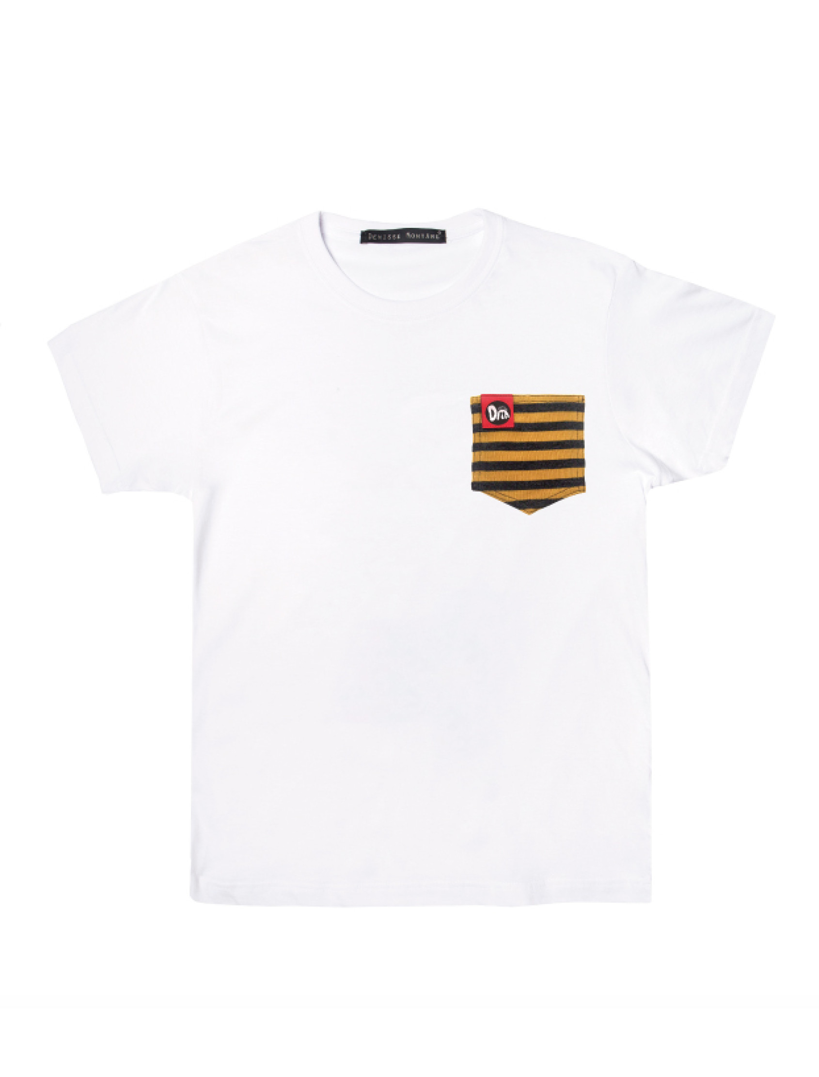 Camiseta BlancaYellow Stripes Pocket_01