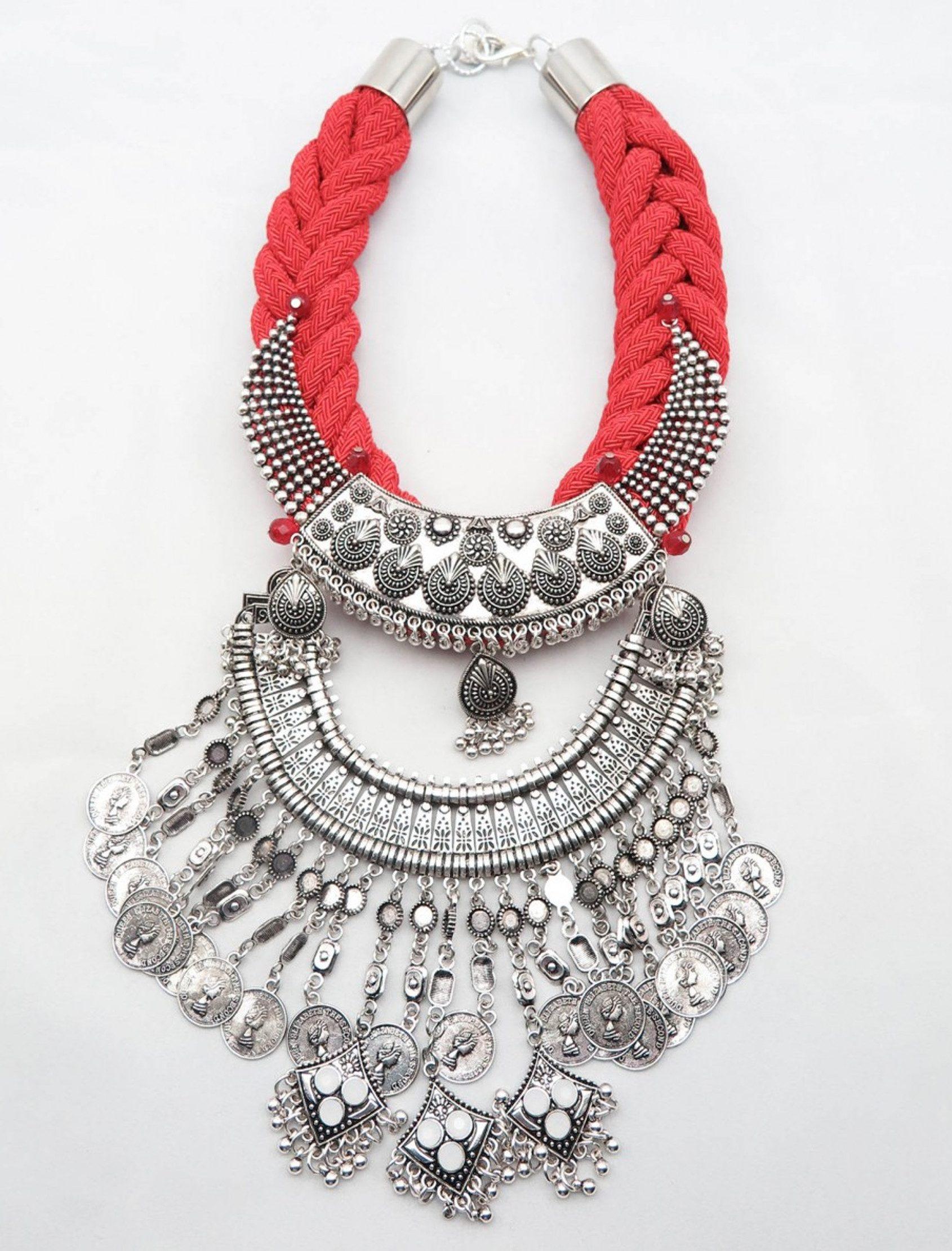 collar sofía de estilo indú de dopra collares con cuerda de rallón roja y abalorios plata