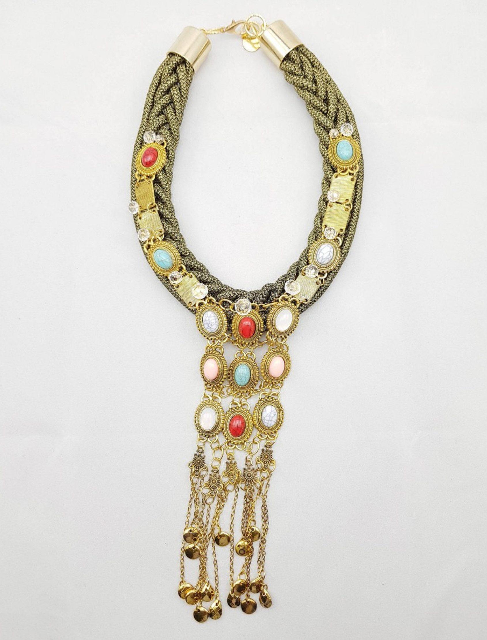 collar suri de dopra collares con cuerda y abalorios dorados