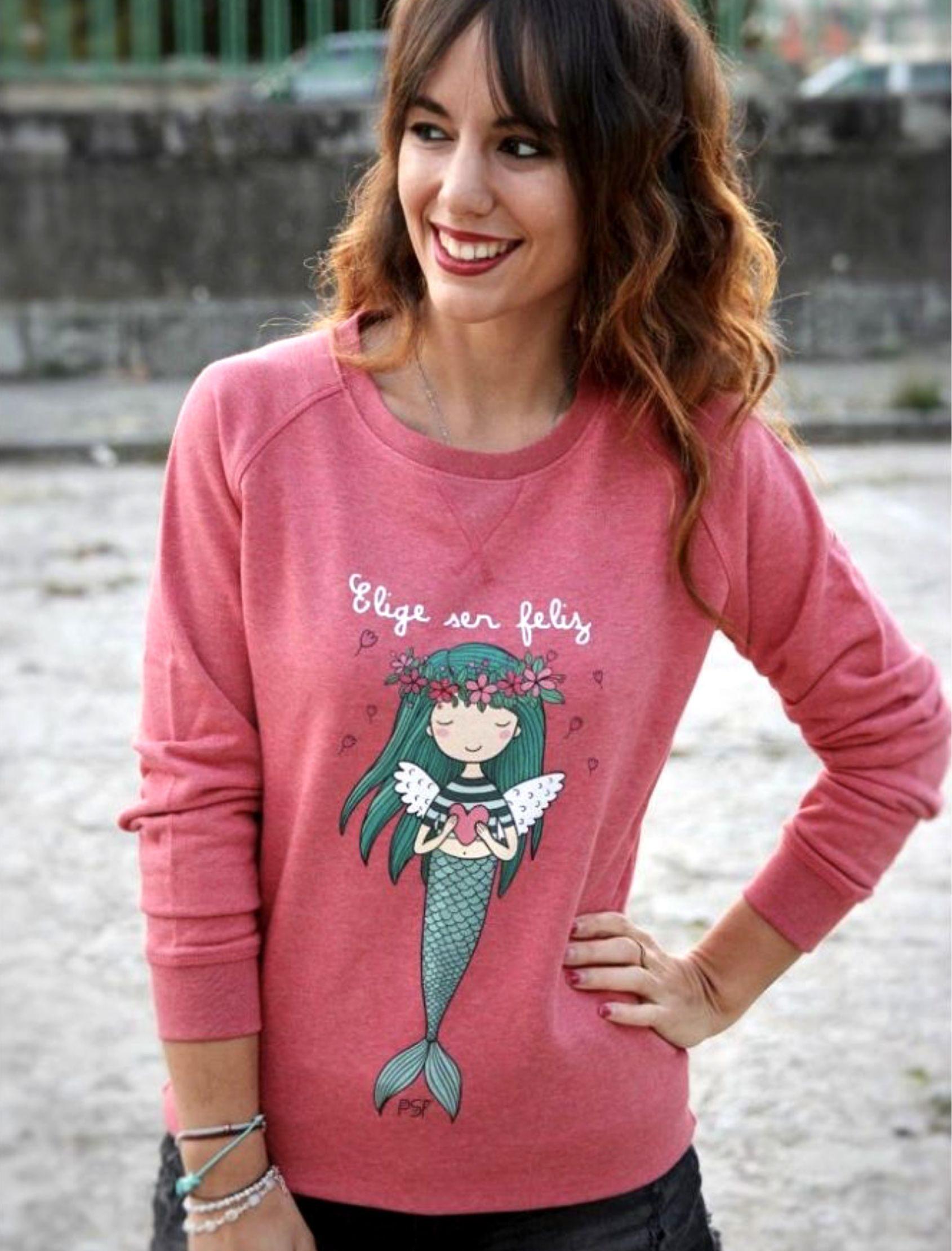 Sudadera mujer con original ilustración y mensaje Elige ser Feliz