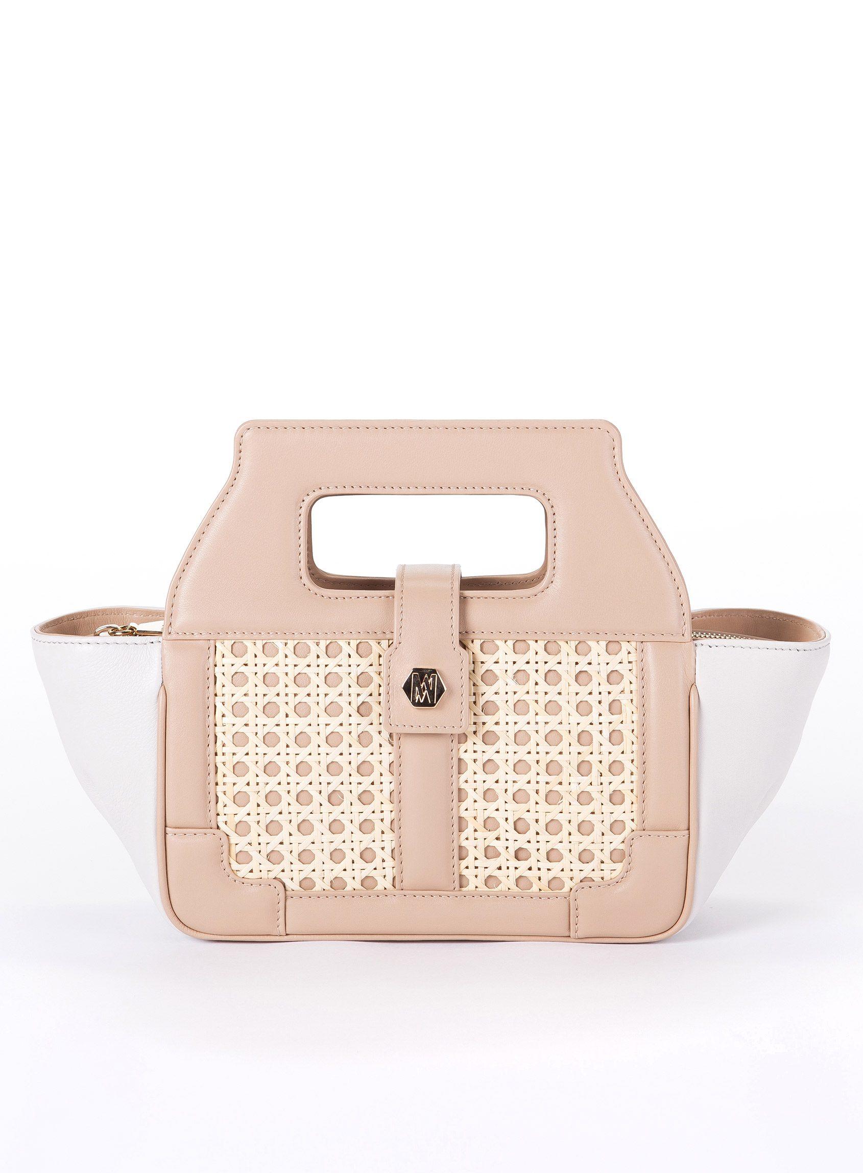 bolso soulmates de la firma de lujo Magalie España. En color rosa combinado con blanco y elaborado con piel de novillo y mimbre natural