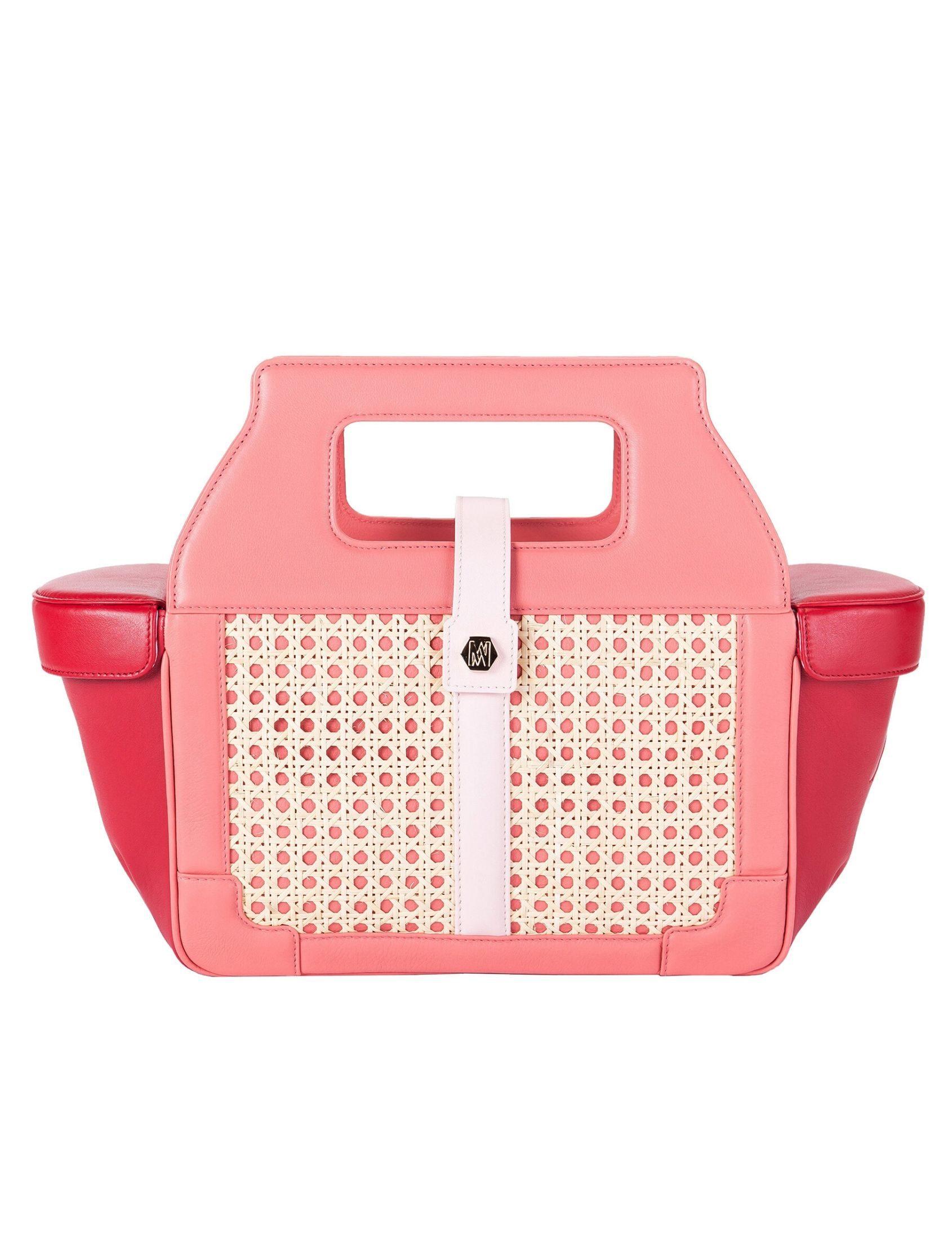Bolso pretty box en rojo y rosa. Elaborado en piel y mimbre por magalie