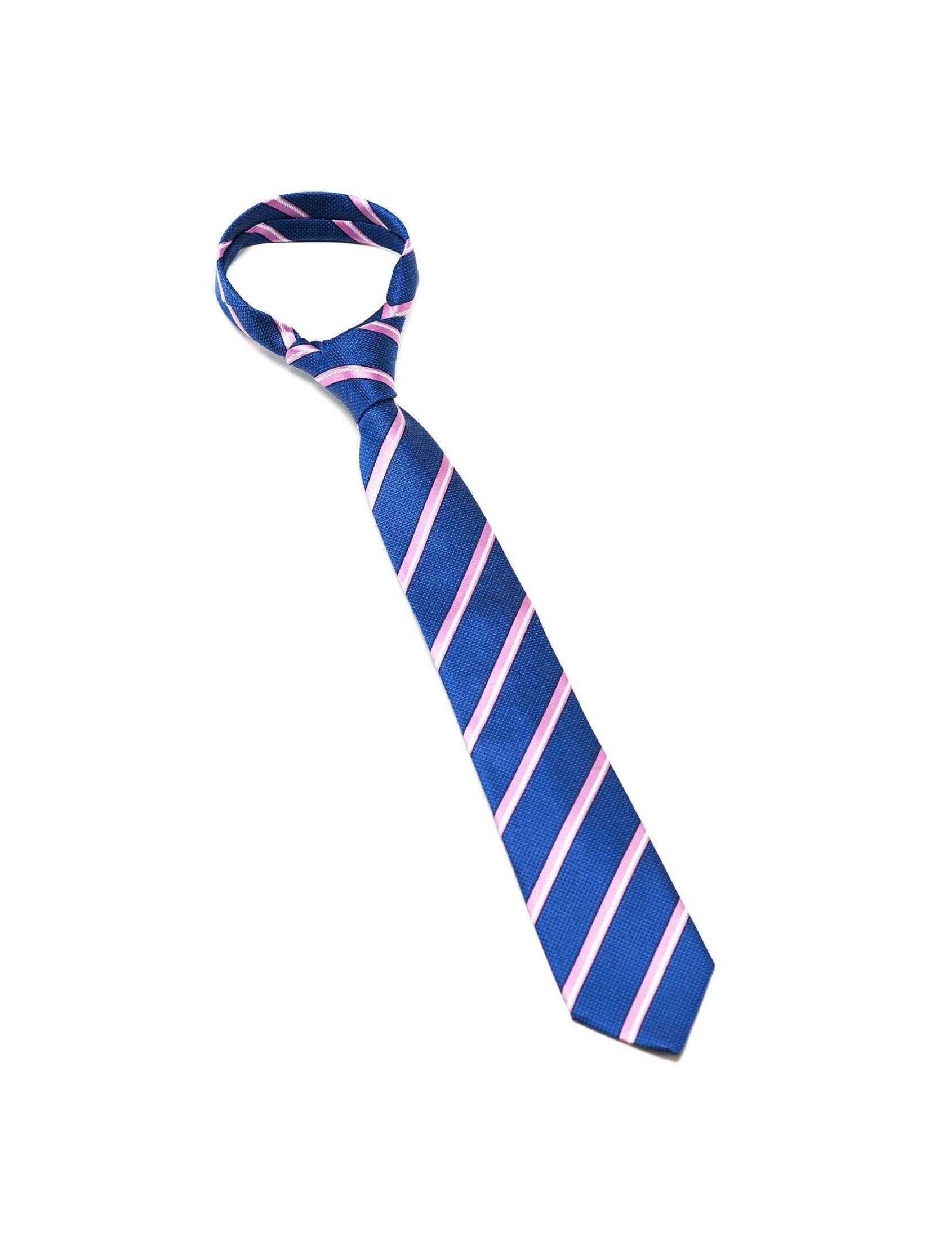 Corbata hombre con estampado de rayas oblicuas en azul y rosa. Fabricada en seda JACQUARD