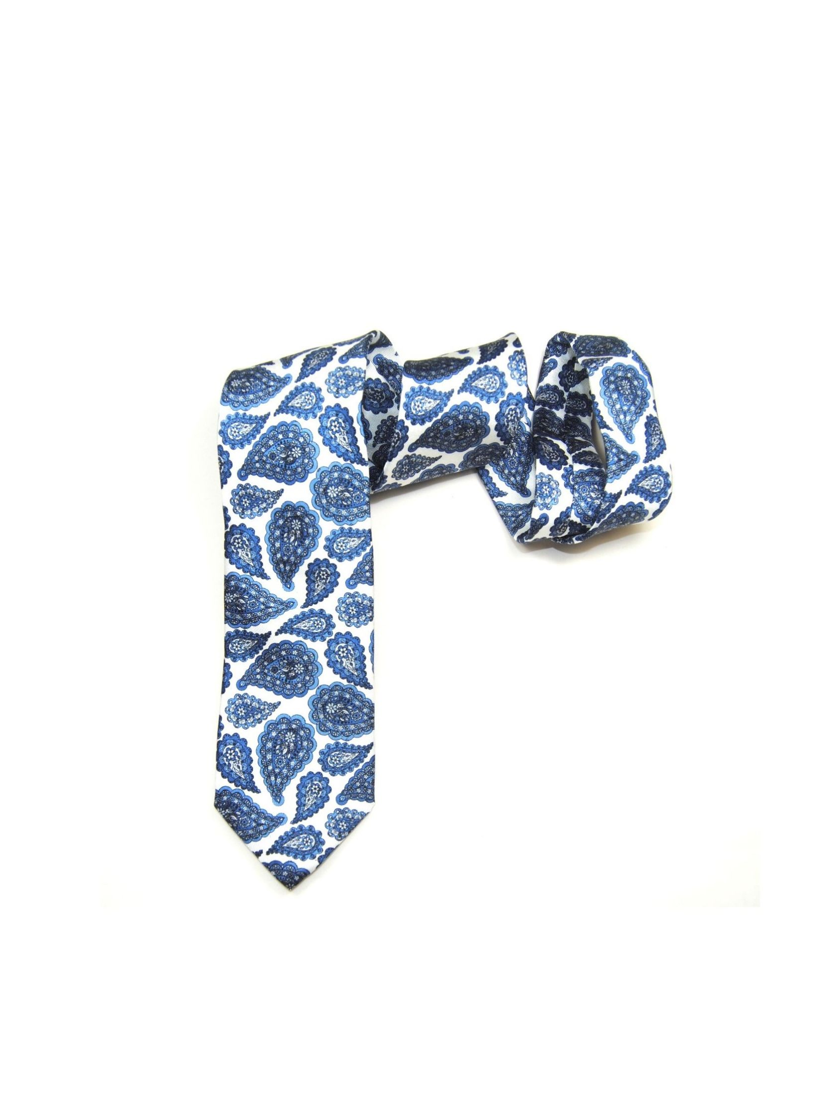 corbata hombre con estampado de amebas en tonos azul y fondo blanco roto