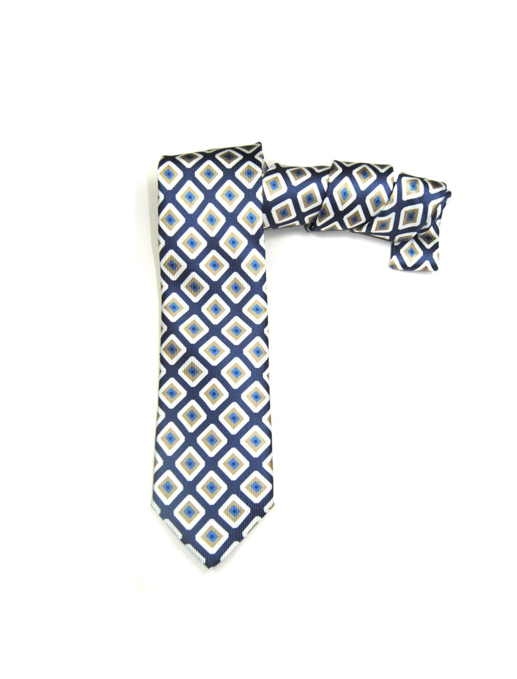 Corbata hombre con estampado geométrico en azul y beige. Fabricada en seda saglione