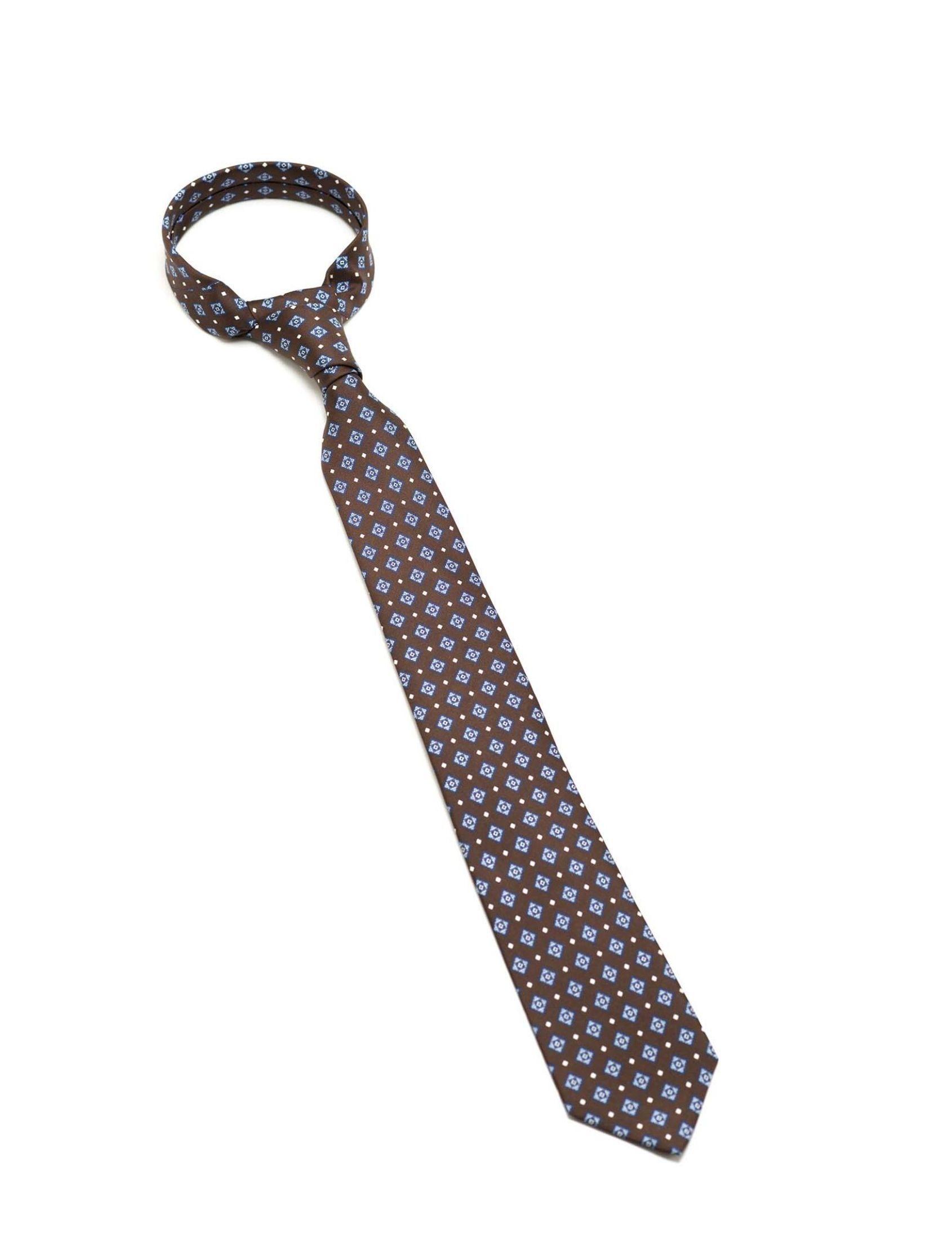 Corbata hombre en tono marrón con estampado mini geométrico en tonos azul y blanco