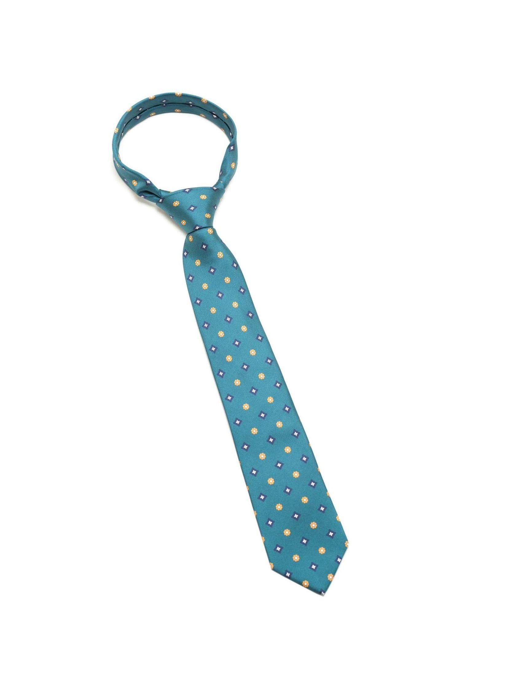 Corbata hombre con estampado mini multicolor . Fabricada en seda natural