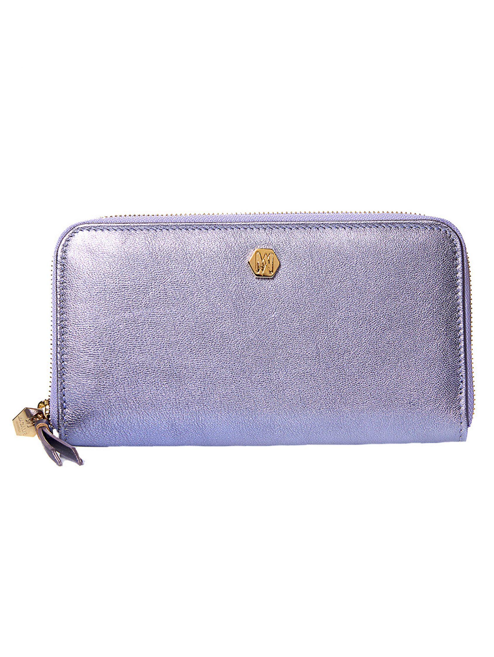 cartera billetera funky de piel en tono lavanda metalizado. Magalie