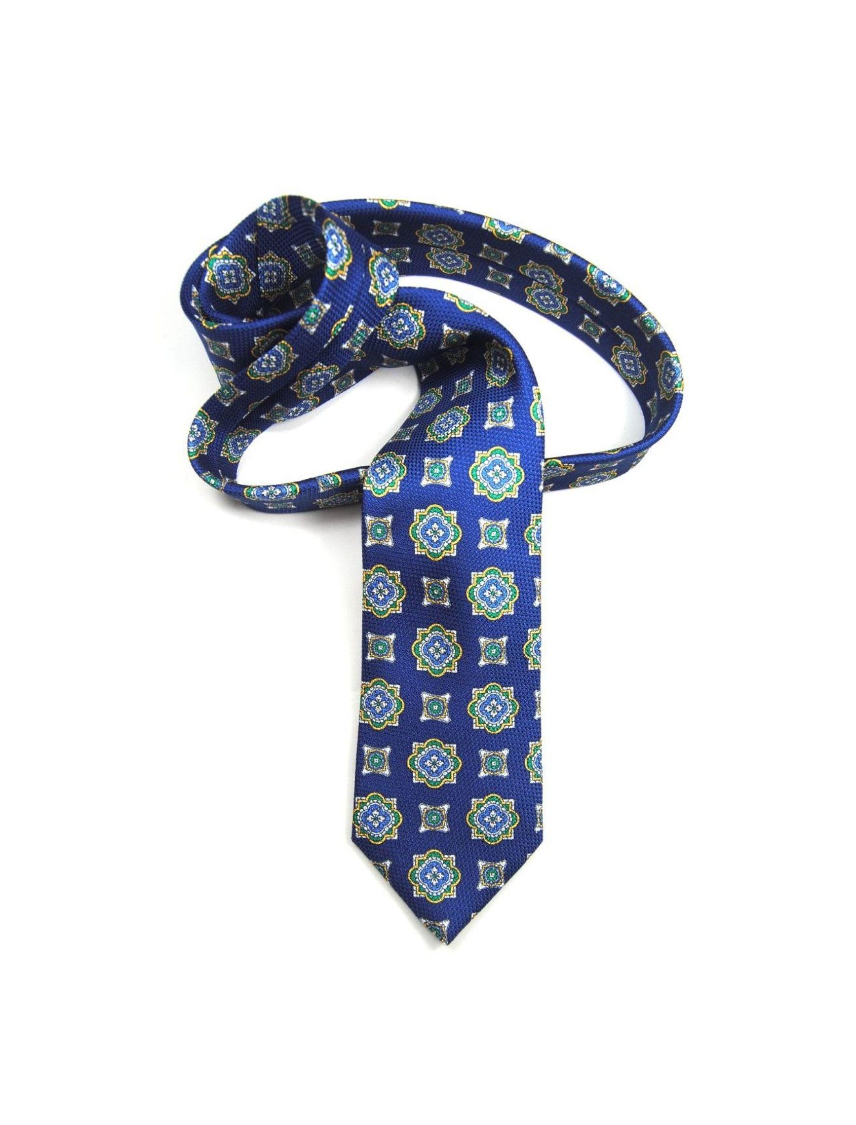 corbata hombre en azul con estampado geométrico multicolor