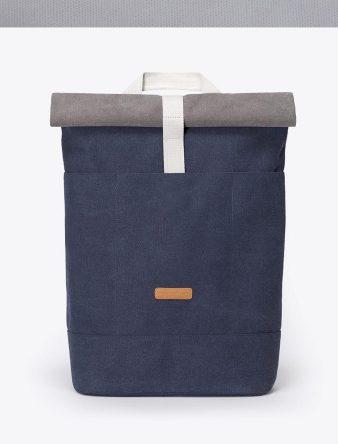 mochila hajo original en zono azul con detalle gris y blanco. Múltiples compartimentos