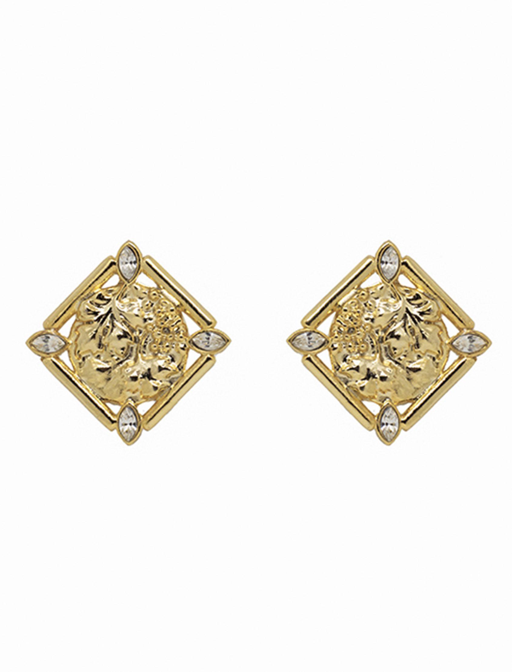 pendientes versalles de formato cuadrado con acabado de oro