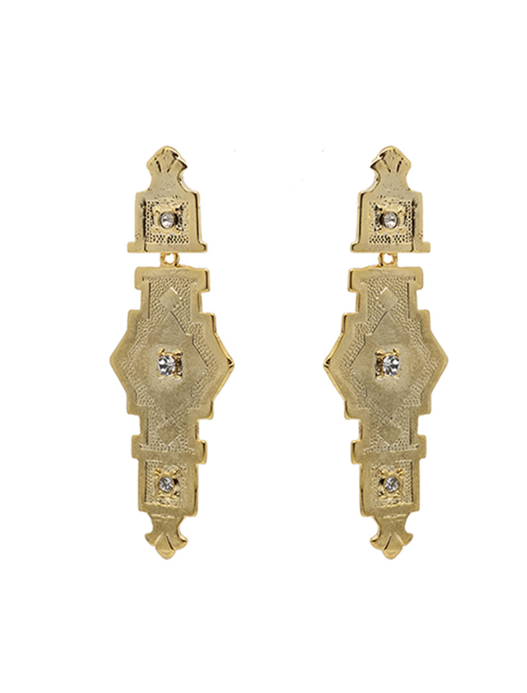 pendientes vitola con acabado en oro y circonitas