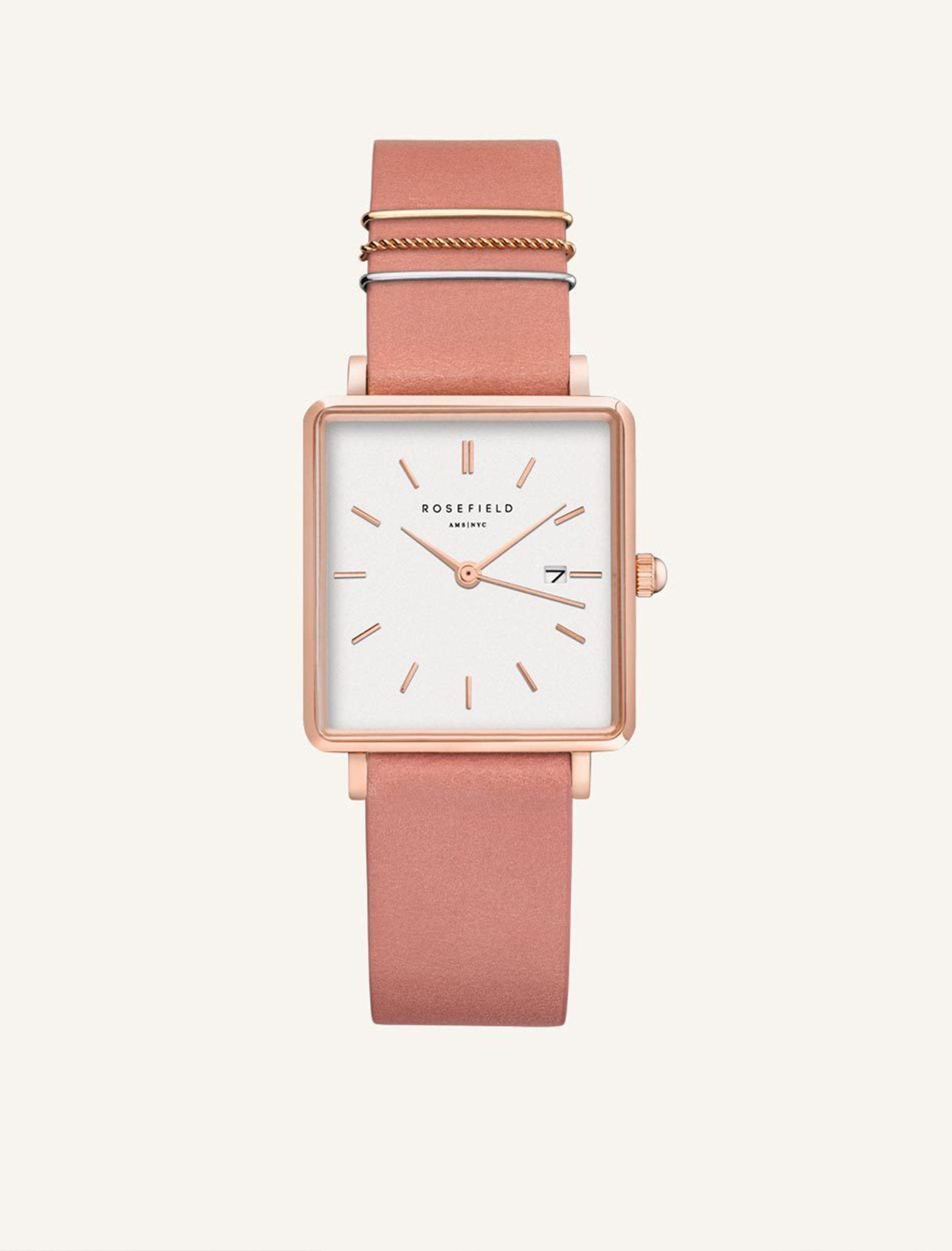 reloj the boxy rosefield con esfera blanca y correa rosa