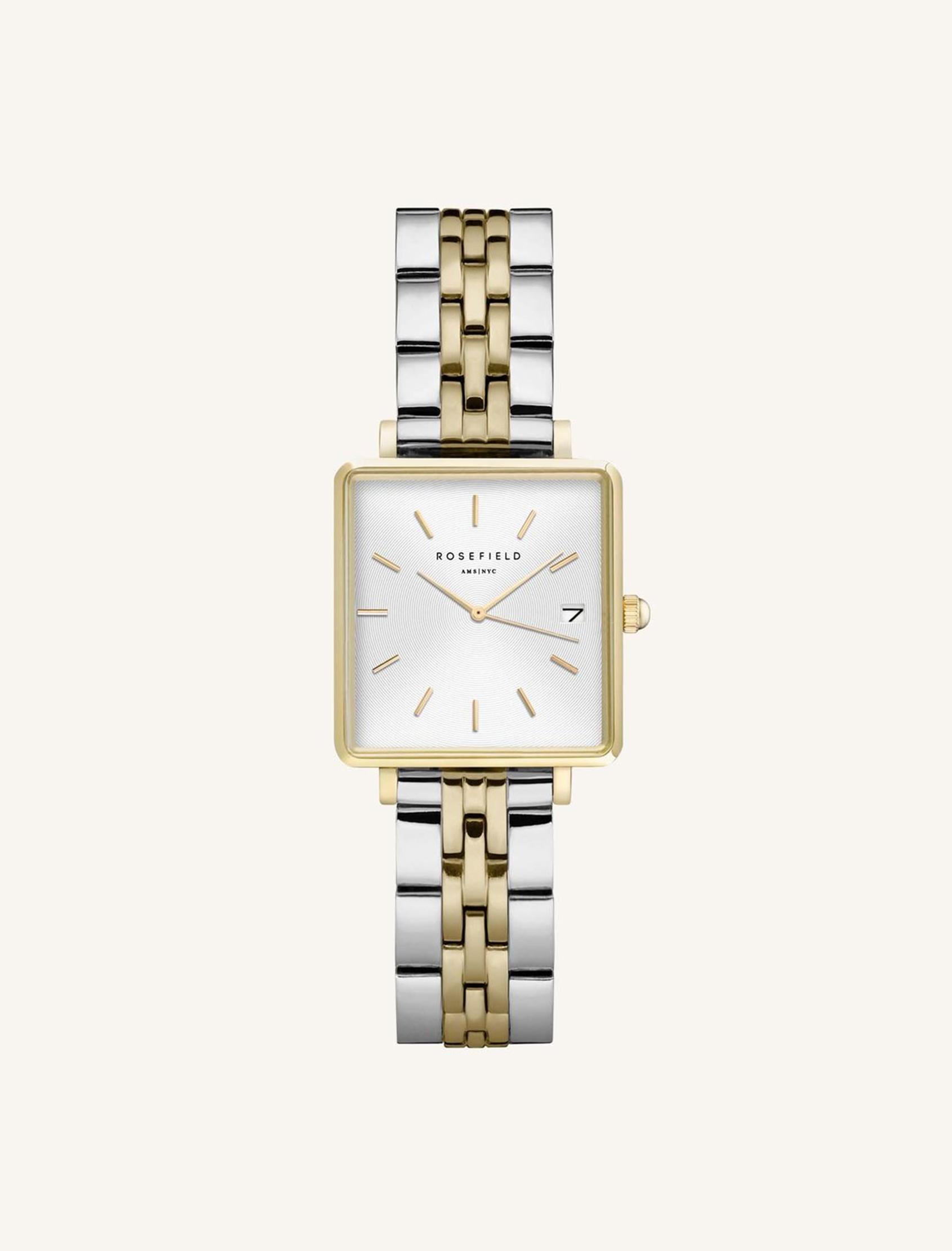 reloj the boxy Rosefield con esfera blanca y combinación de oro y plata
