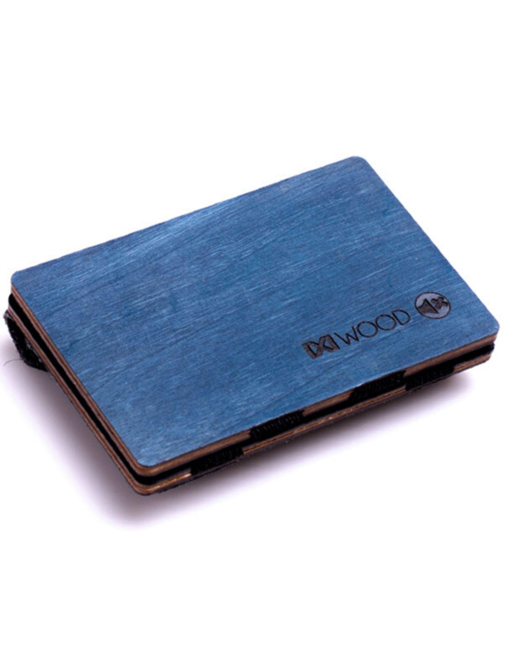 cartera de madera en color azul con momnedero de IXI WOOD