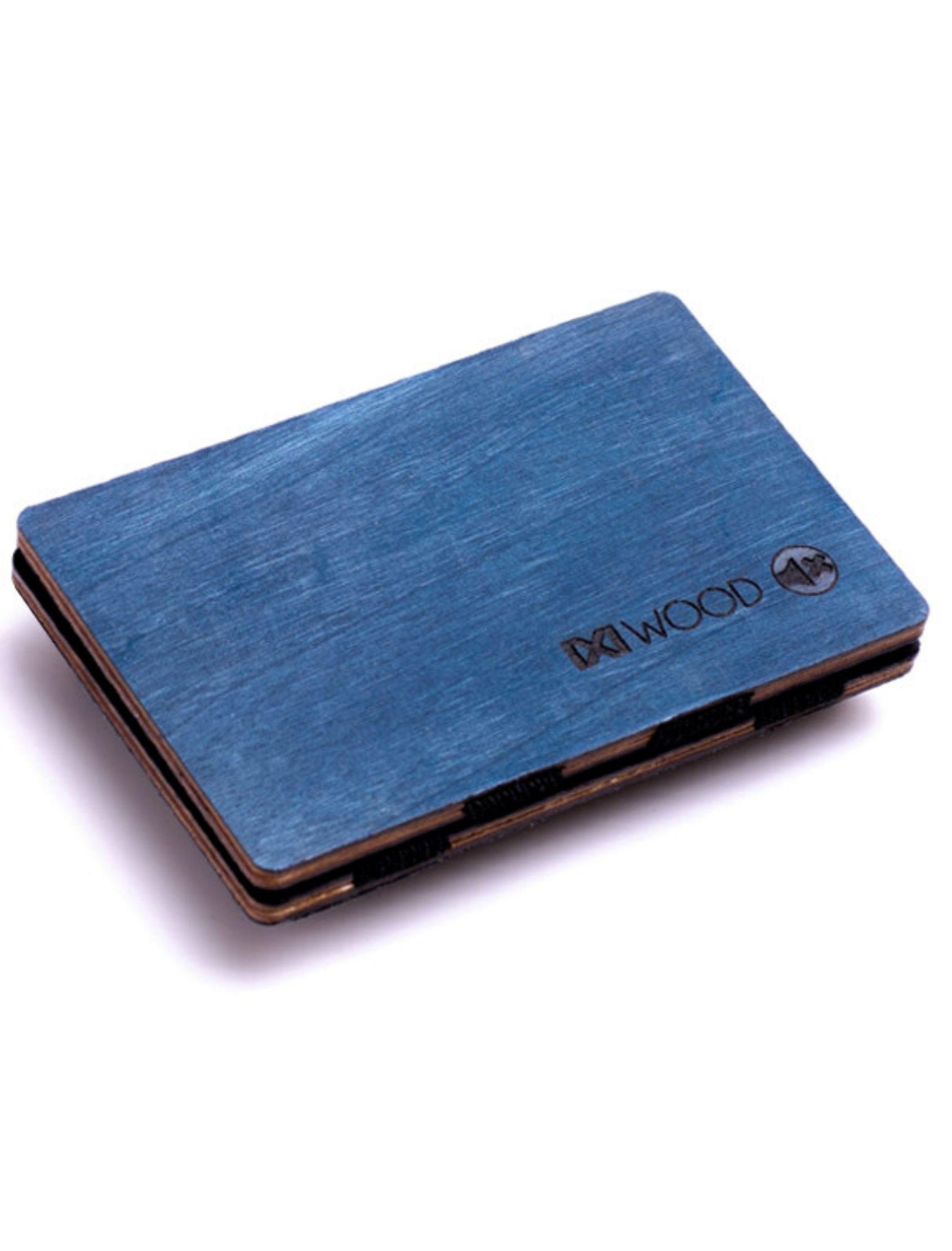 cartera de madera en color azul de IXI WOOD