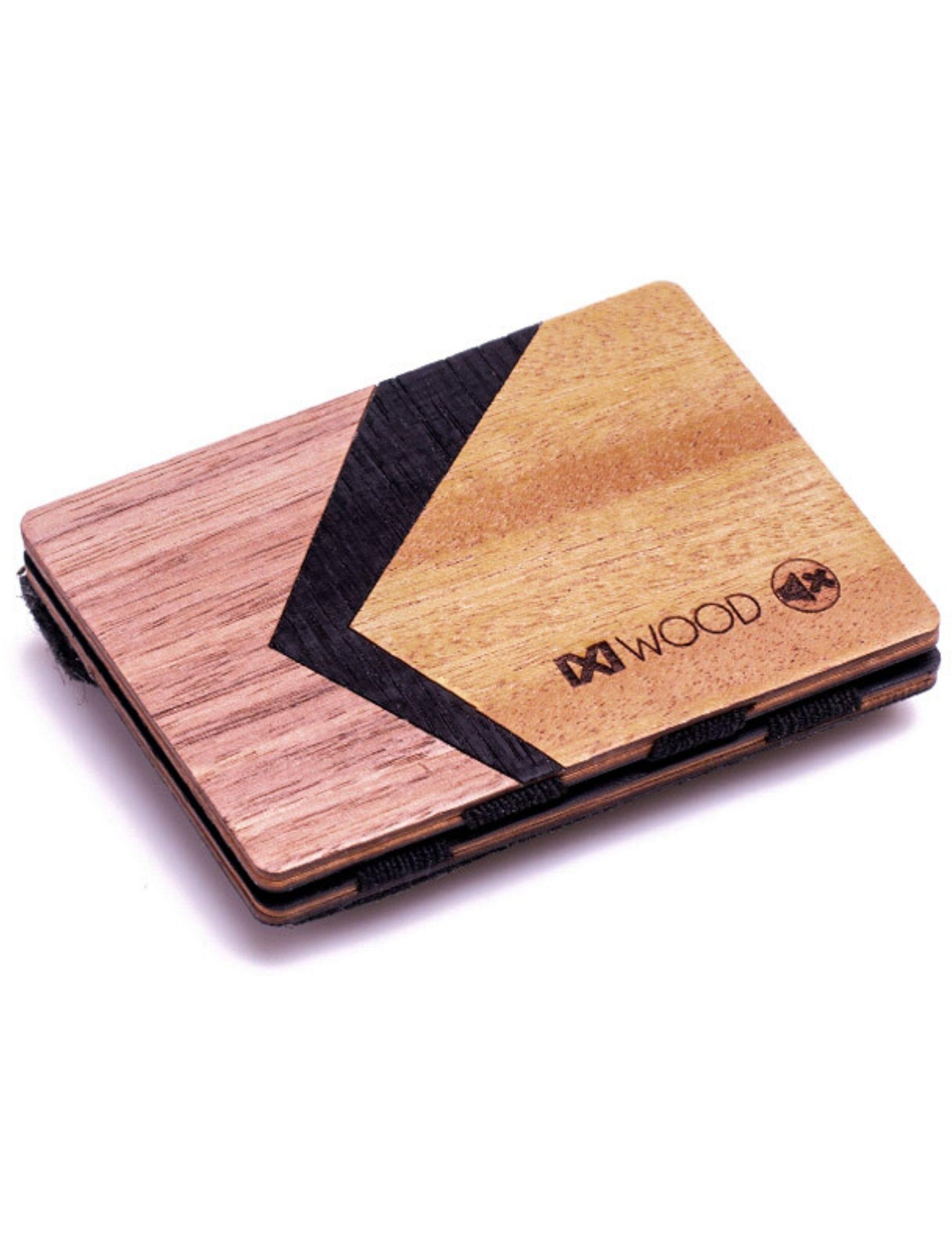 Cartera curve de madera con detalle de dibujo geométrico multicolor. De IXi Wood. Con monedero de pinatex