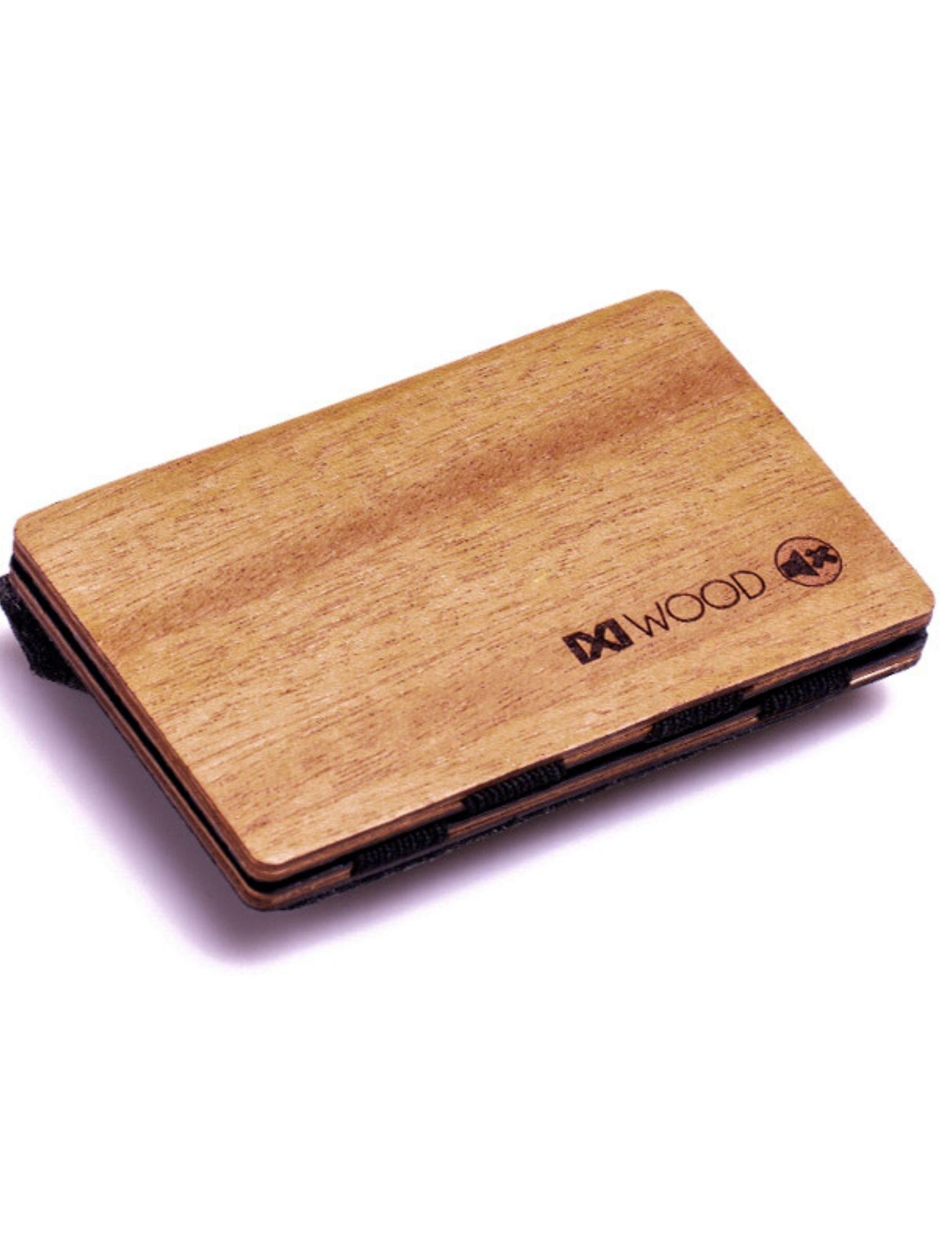 cartera iroko de madera con monedero de piñatex de ixi wood