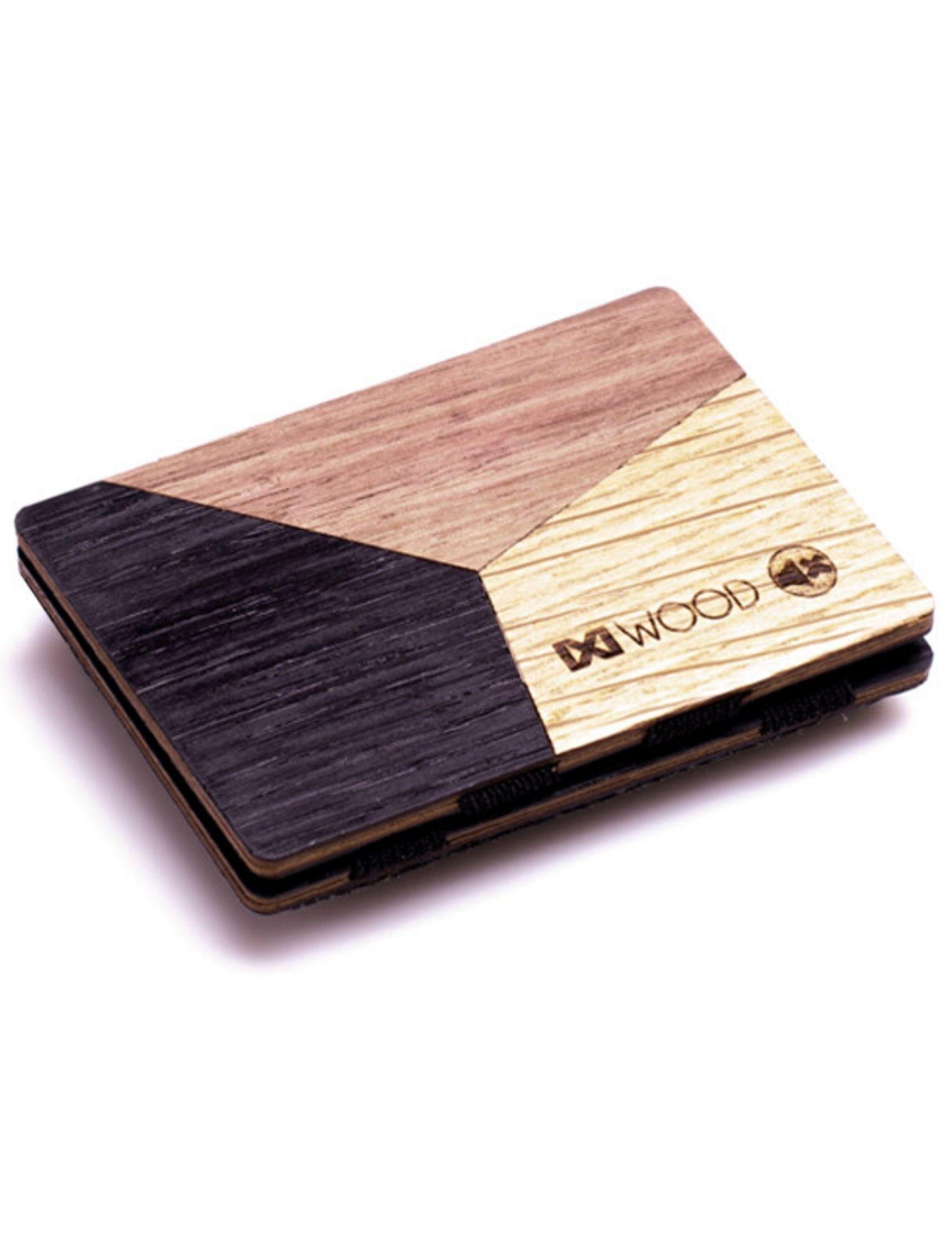 Cartera de madera con figuras geometricas en varios colores de ixi wood