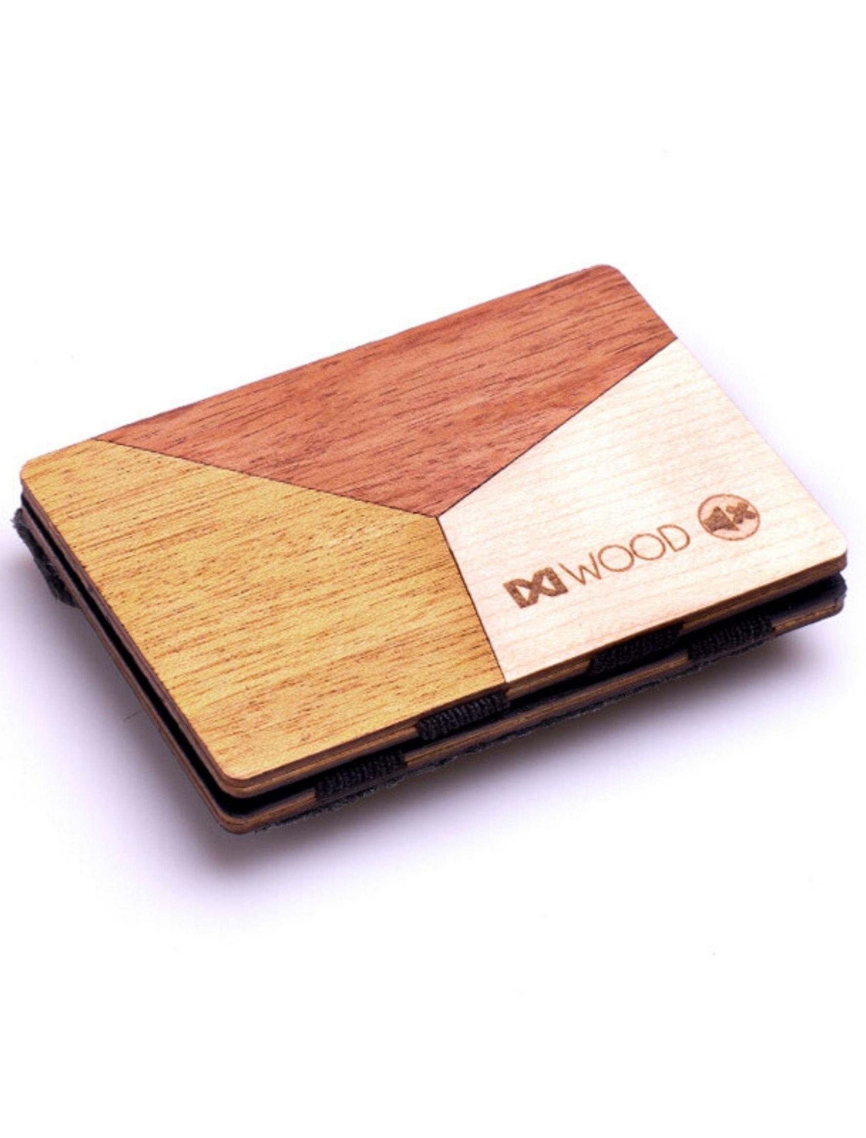 Cartera de madera con figuras geometricas en varios colores, con monedero de ixi wood