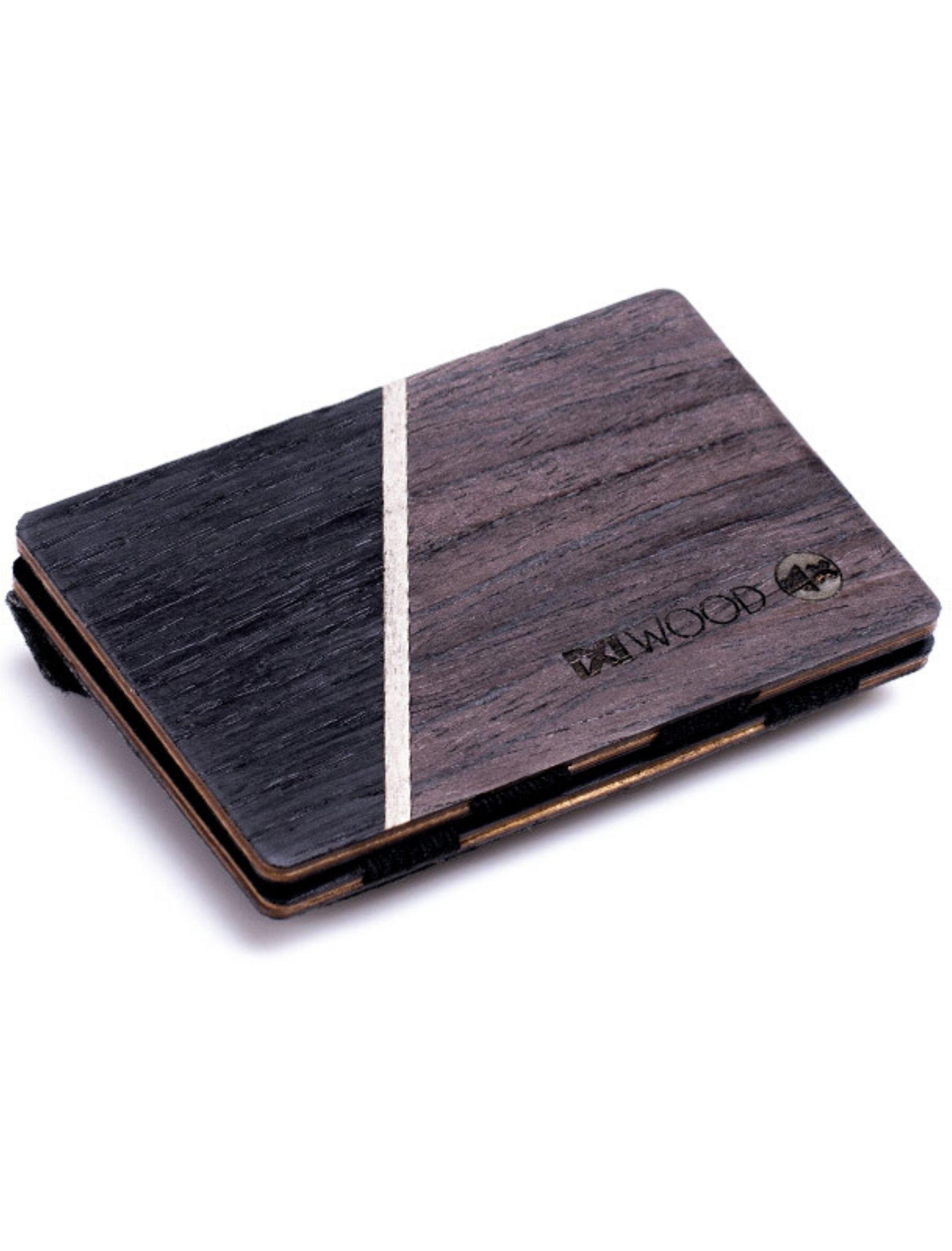 cartera line de madera en negro con monedero de Ixi Wood