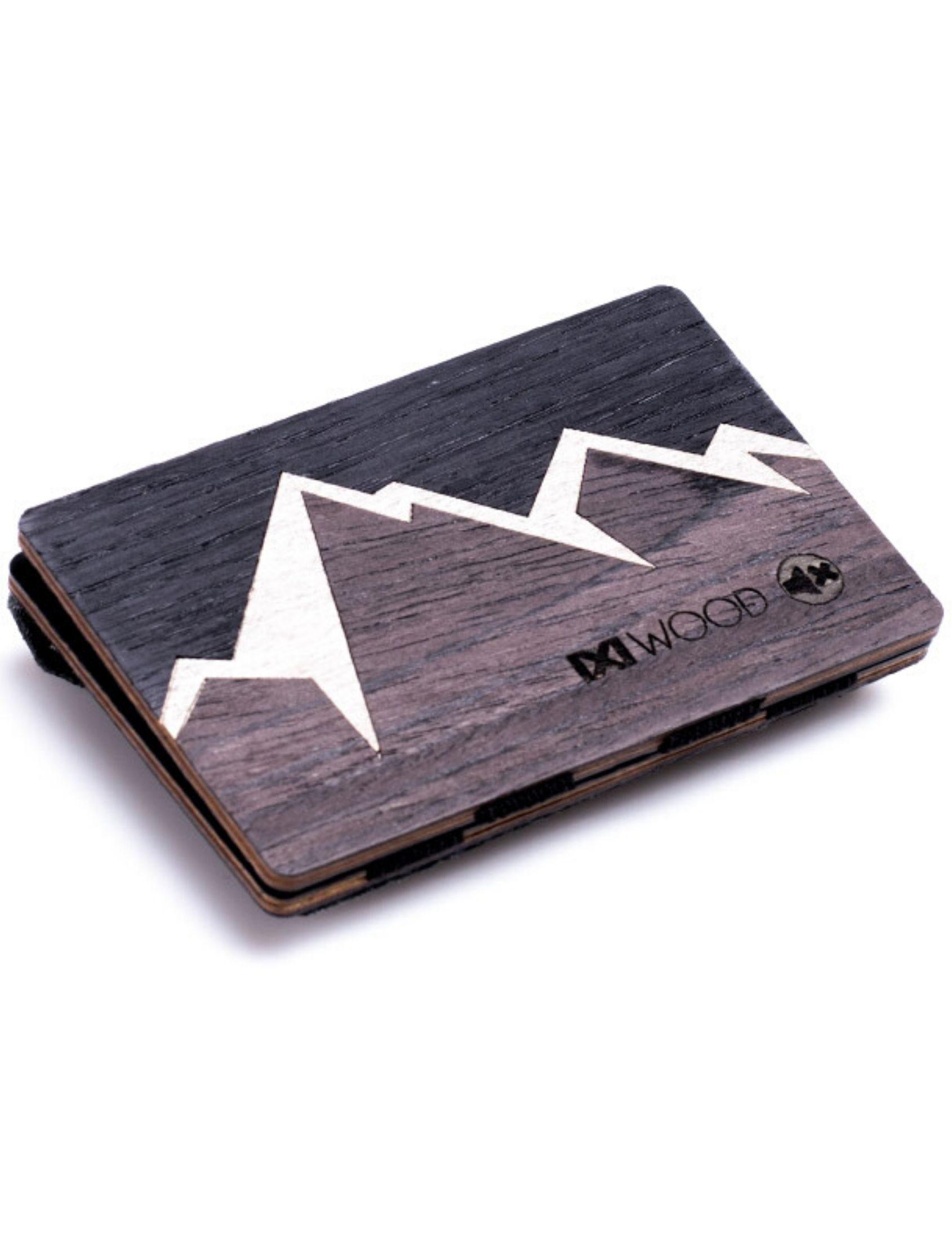 cartera de madera mountain con dibujo de montañas en tonos oscuros con monedero de ixi wood