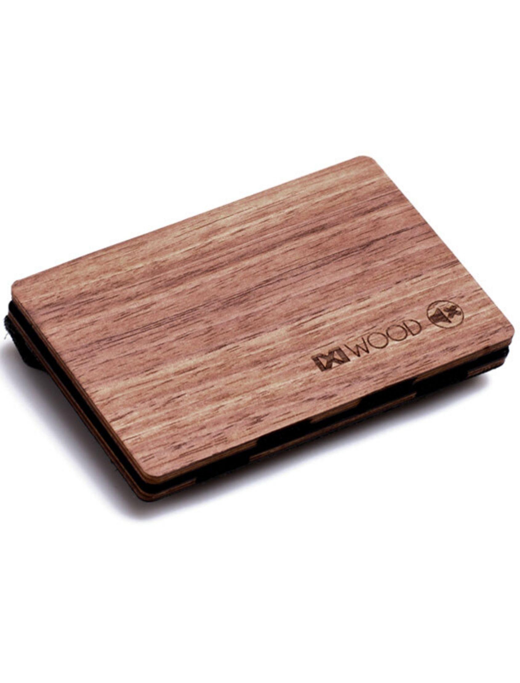 cartera nogal de madera con monedero de piñatex de ixi wood