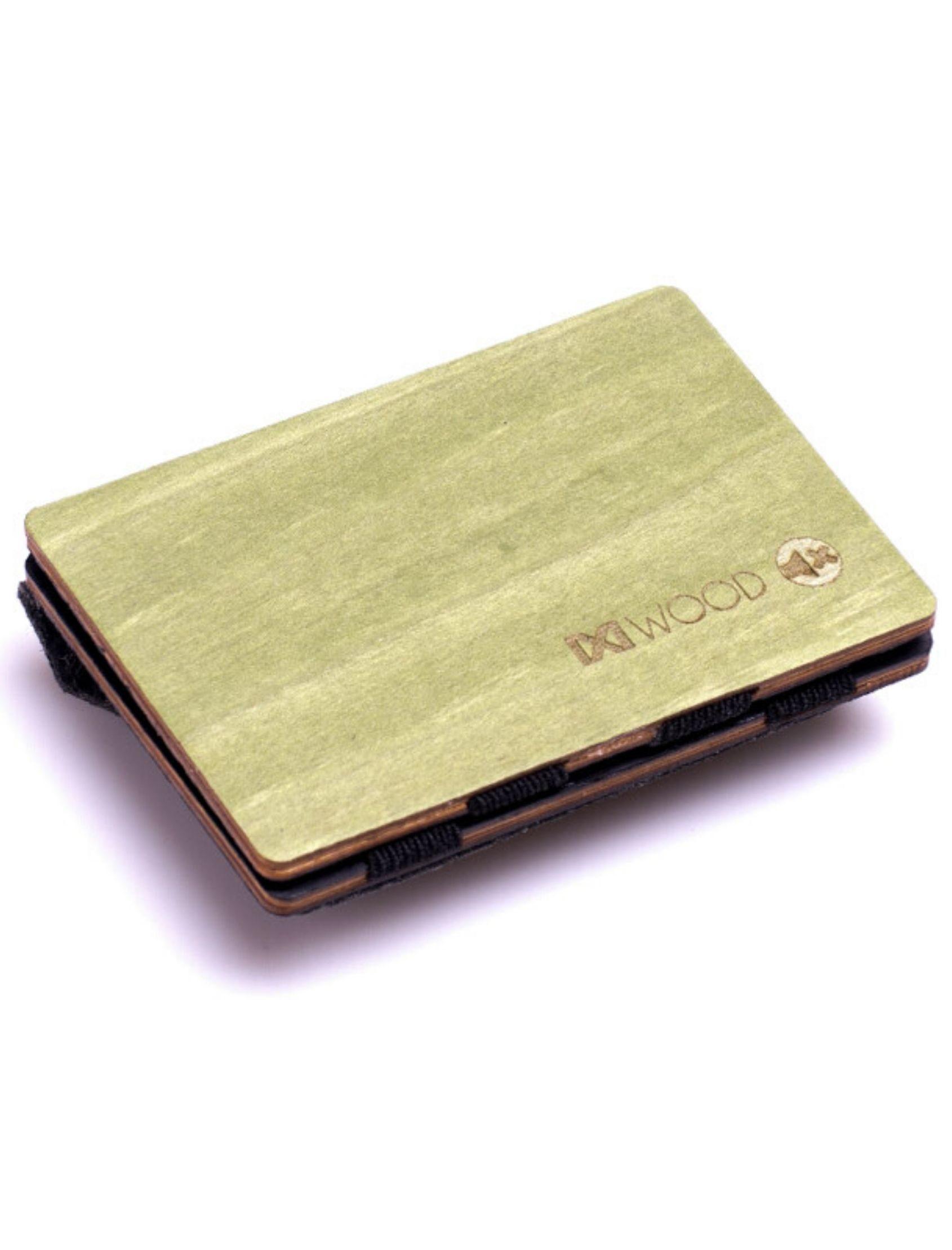 cartera verde de madera con monedero de piñatex de ixi wood