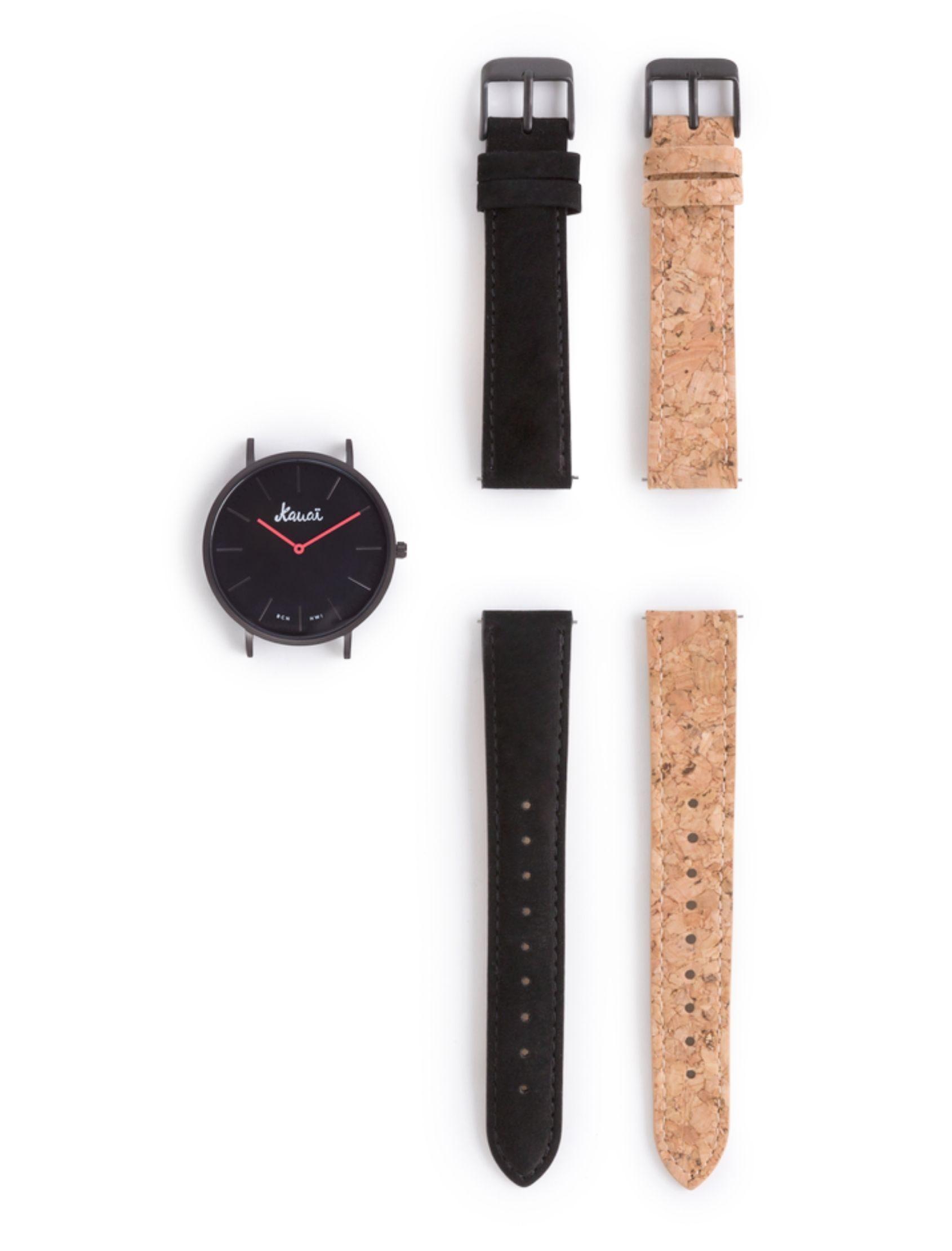 pack reloj aloha black con dos correas una aterciopelada negra y otra de corcho0. esfera negra con agujas rojas