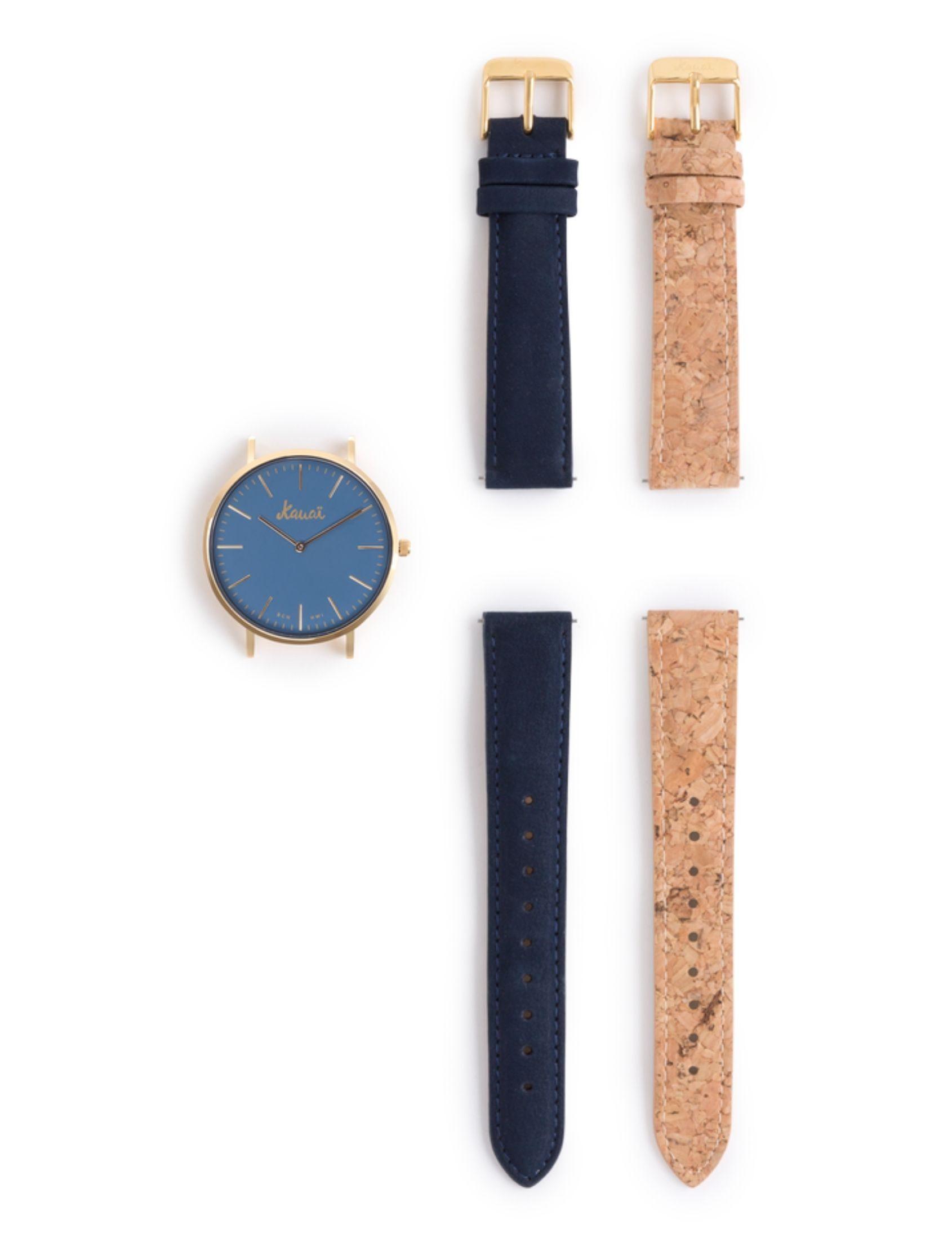 Pack reloj Moana Blue con dos correas de cuero y de corcho