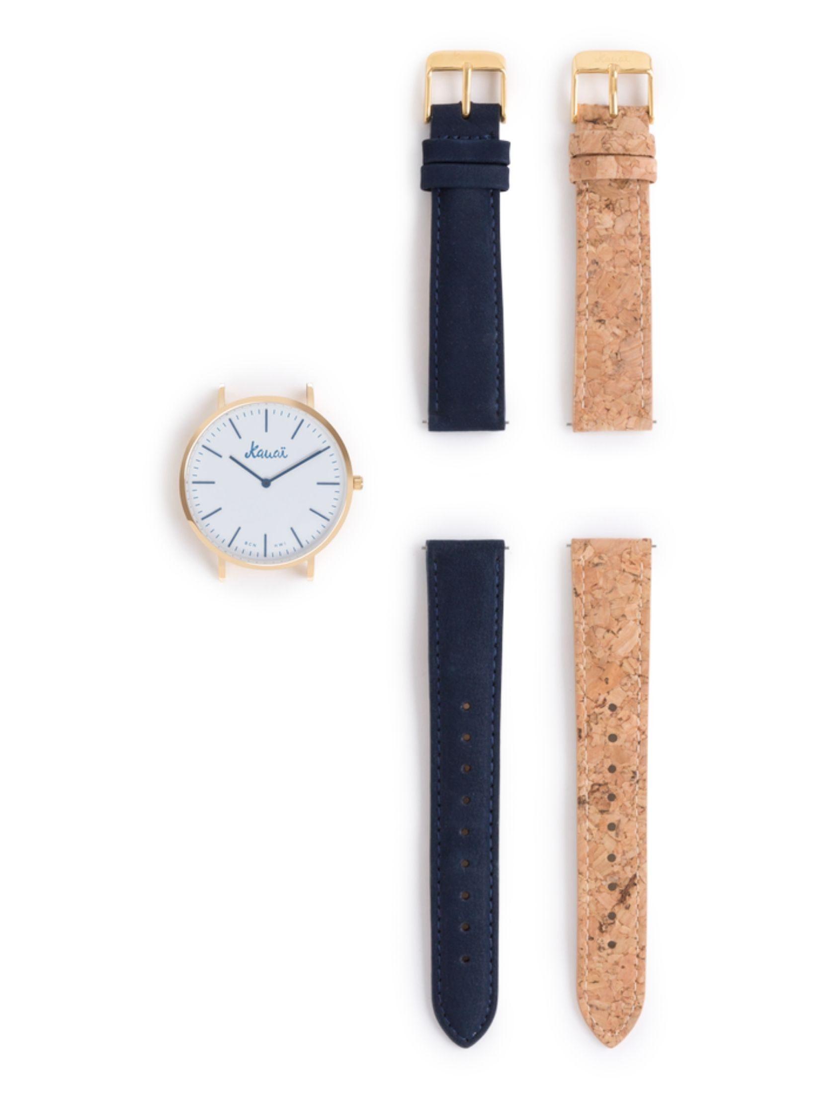 pack Reloj moana con esfera blanca y agujas azul marino. Correa de corcho y de cuero.
