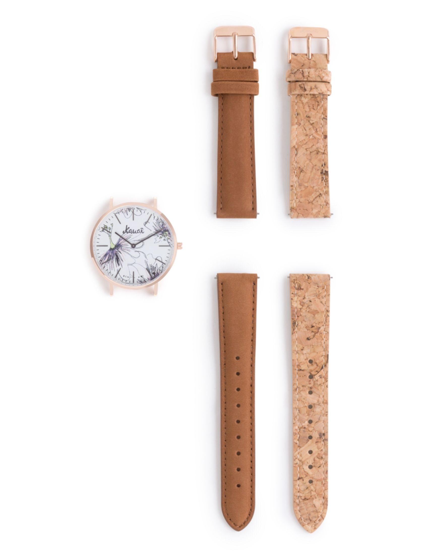 pack reloj napali pua de kauai watches. COn dos correas una de cuero y otra de corcho.