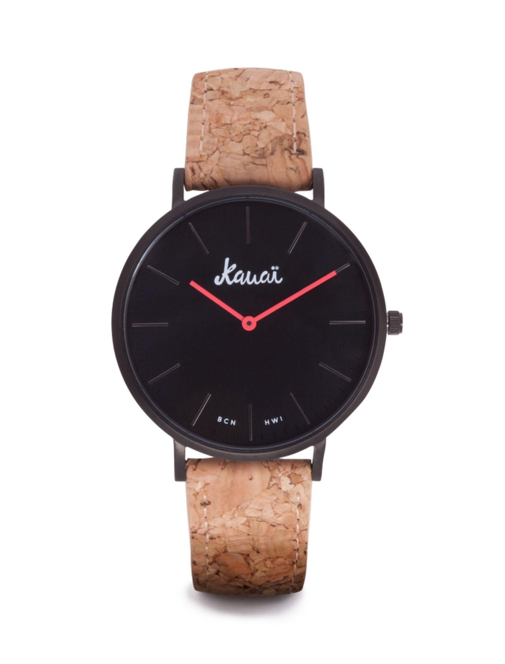 reloj aloha black de kauai watches con esfera negra y agujas rojas. Correa de corcho