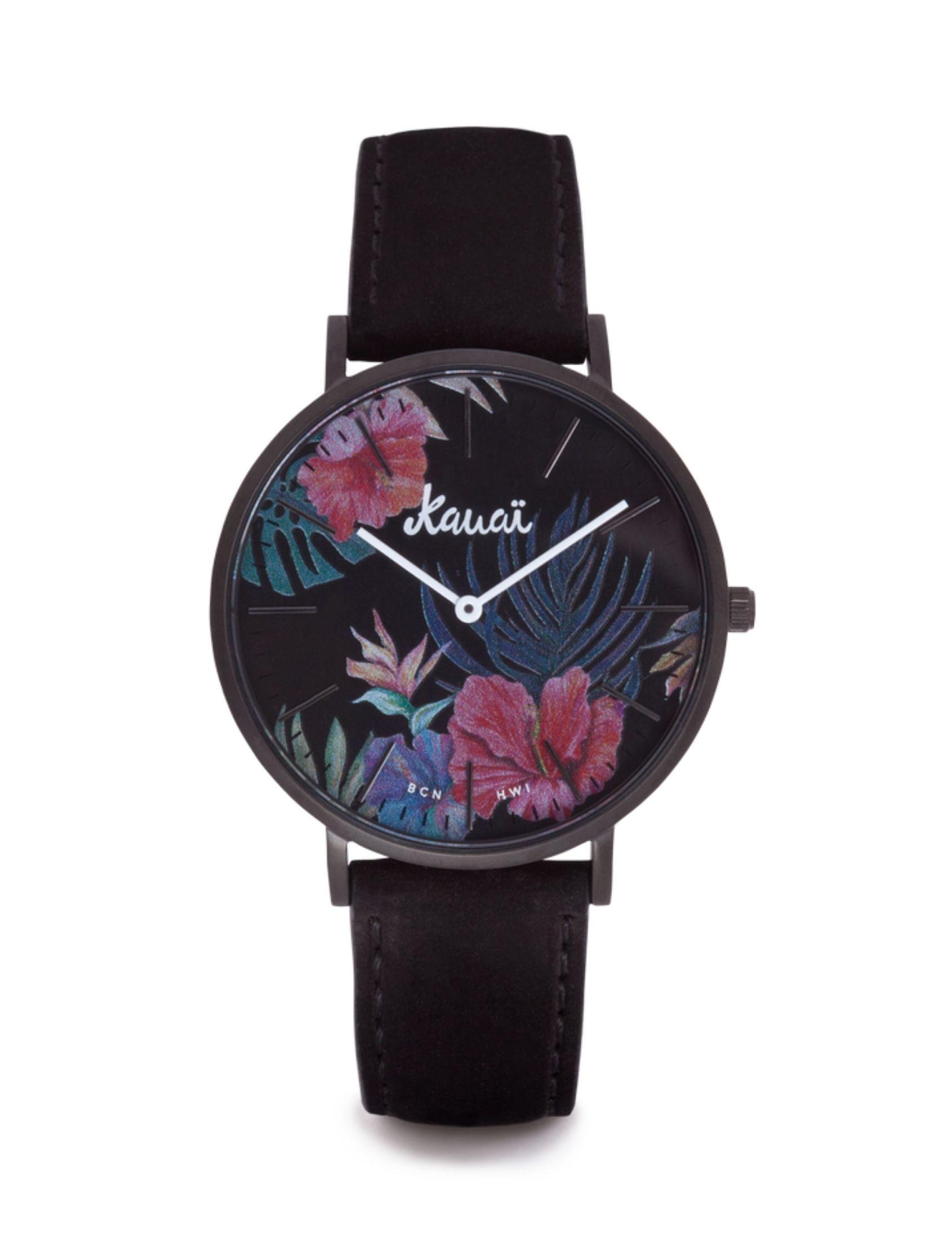 reloj kaua de kauai watches con esfera tropical y correa negro