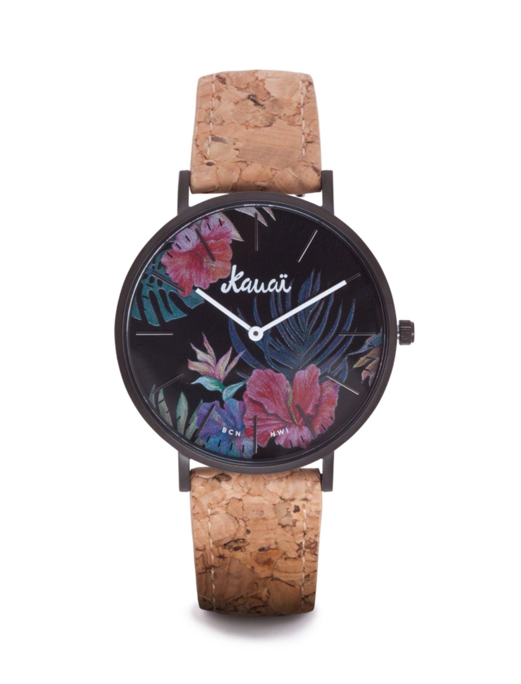 reloj kaua de kauai watches con esfera tropical y correa de corcho