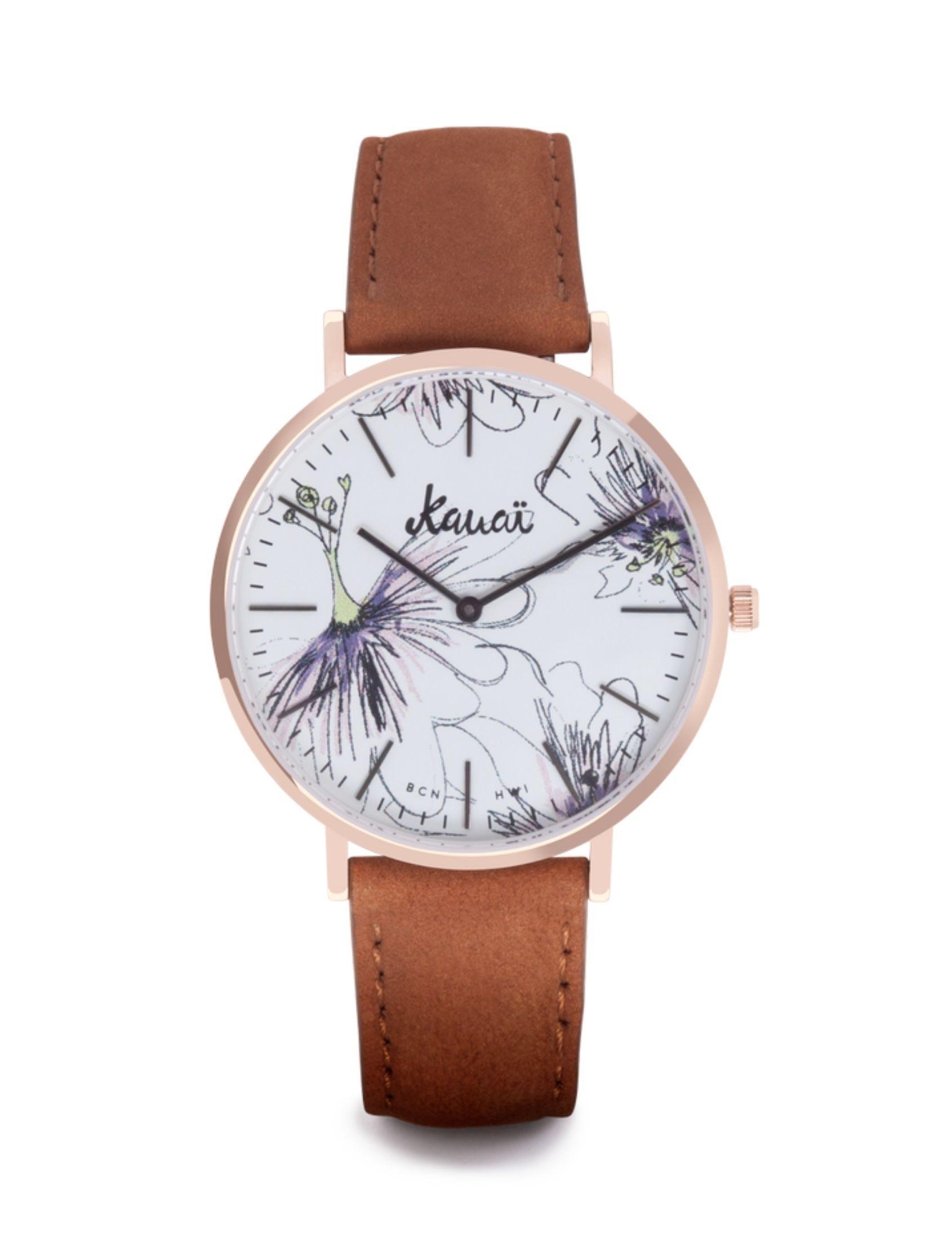 Reloj Napali Pua de Kauai Watches con esfera blanca y estampado floral. Correa de cuero