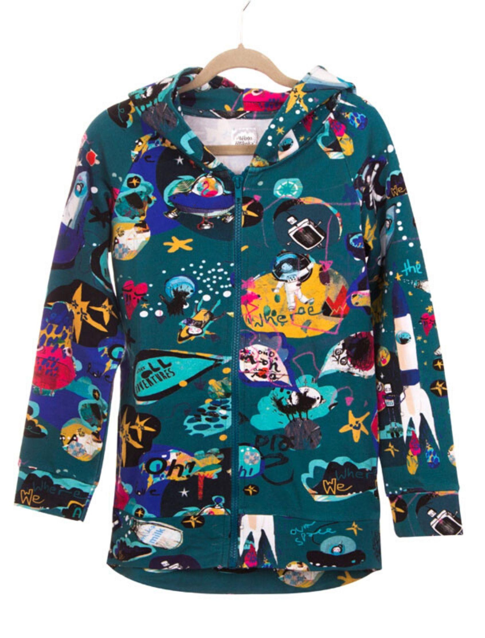 sudadera space unisex con capucha y original estampado de Milena & Milenka.