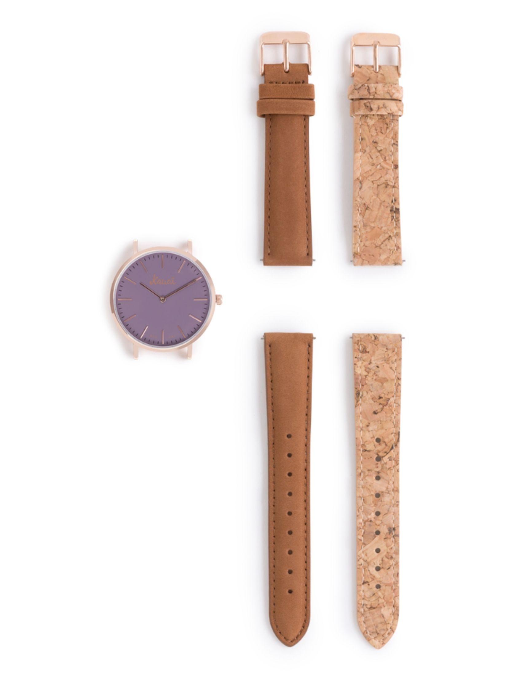pack reloj Napali Purple con dos correas una de cuero y otra de corcho. Esfera violeta.