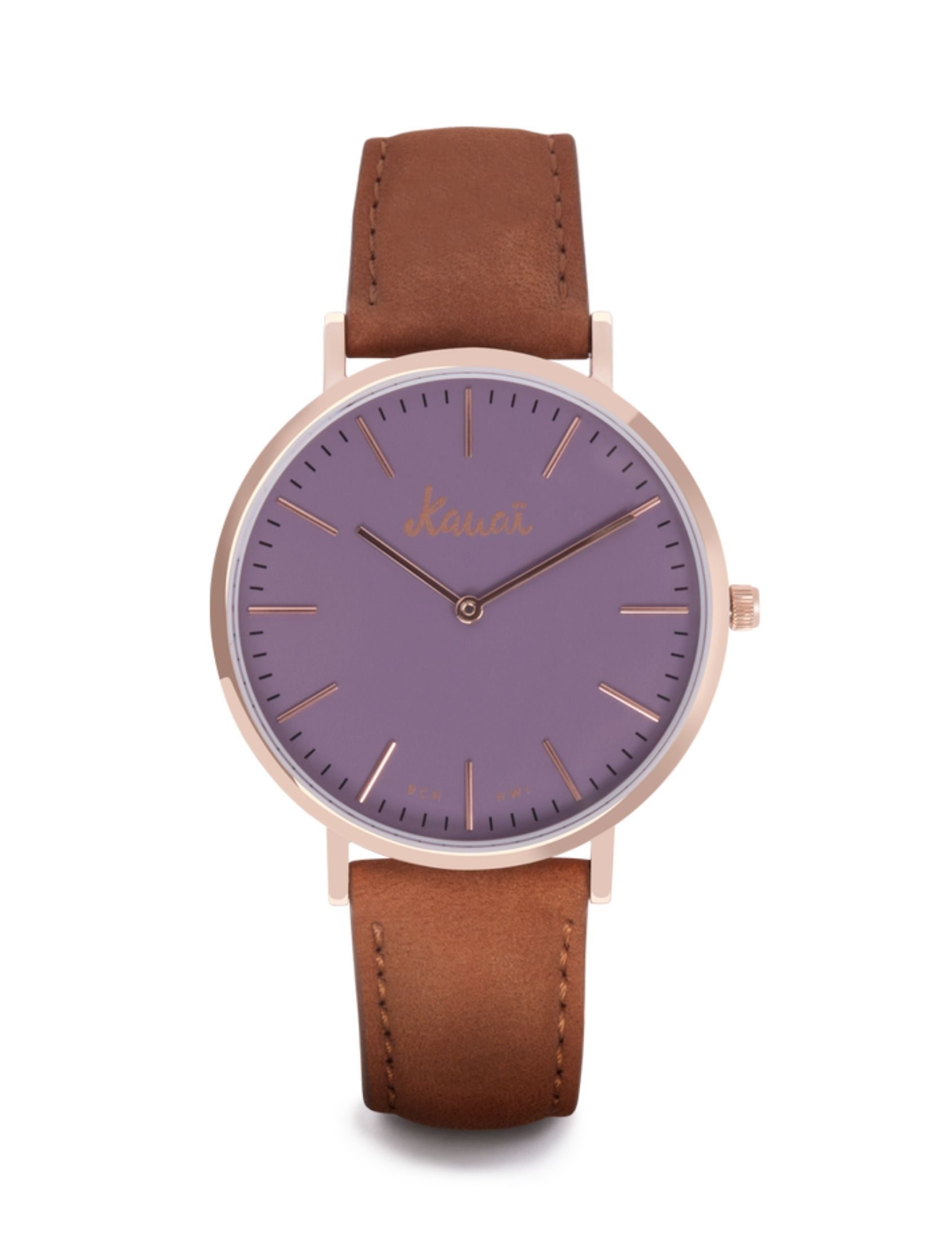 Reloj Napali Purple con correa de cuero y esfera violeta