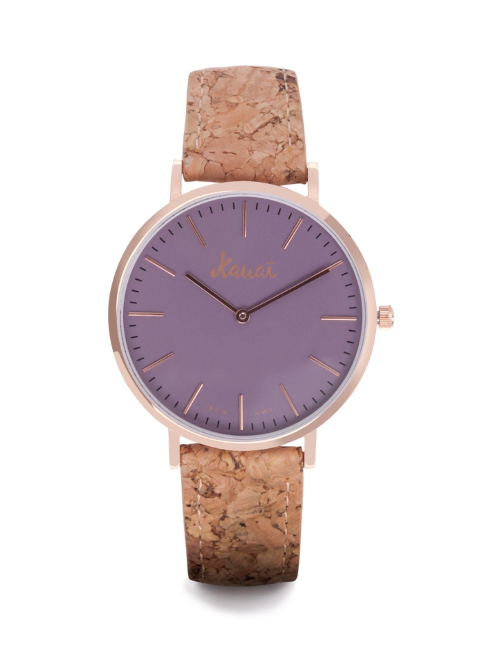 Reloj Napali Purple con correa de corcho y esfera violeta