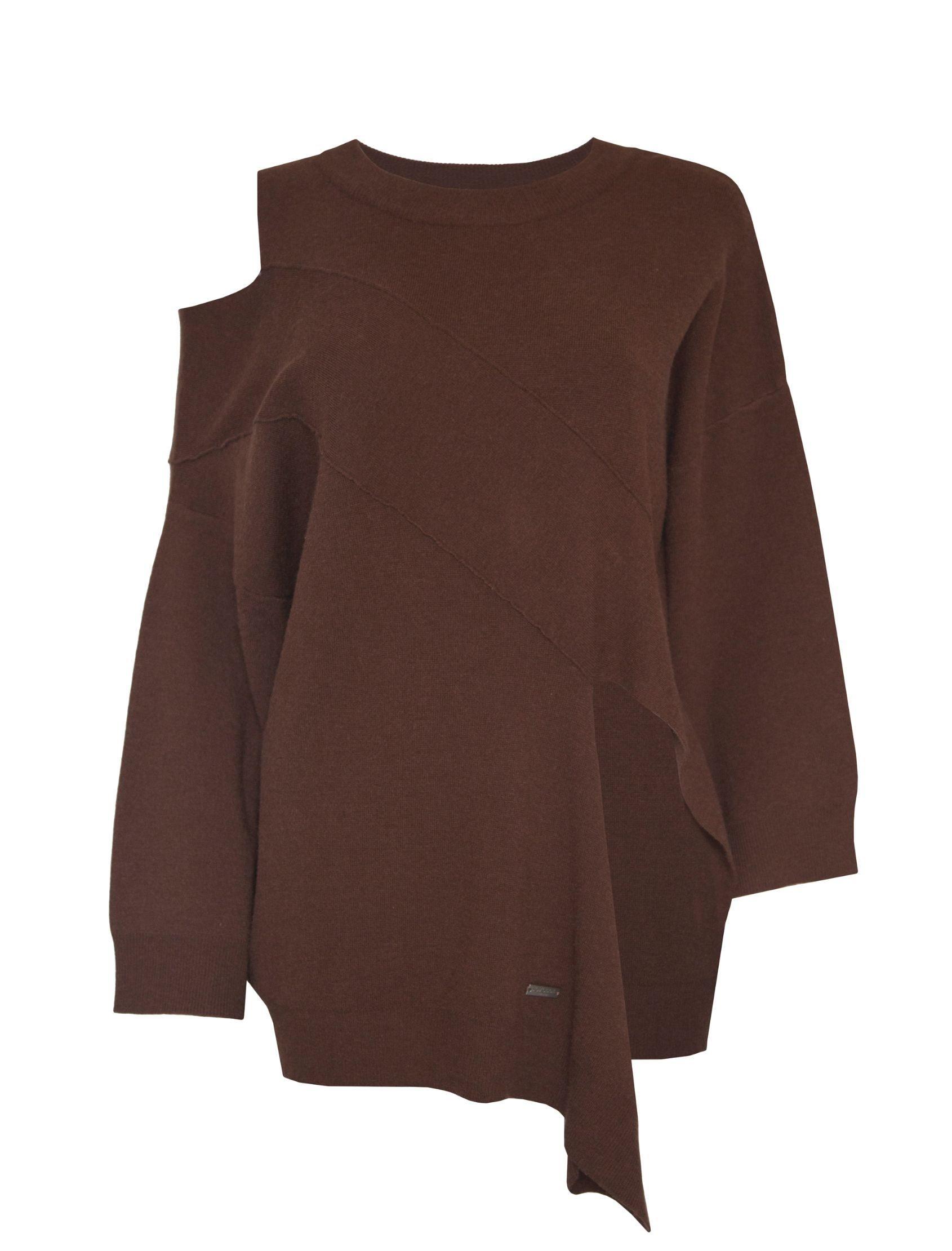 Jersey Scotia de Jovonna London de punto con hombro al aire en tono marrón