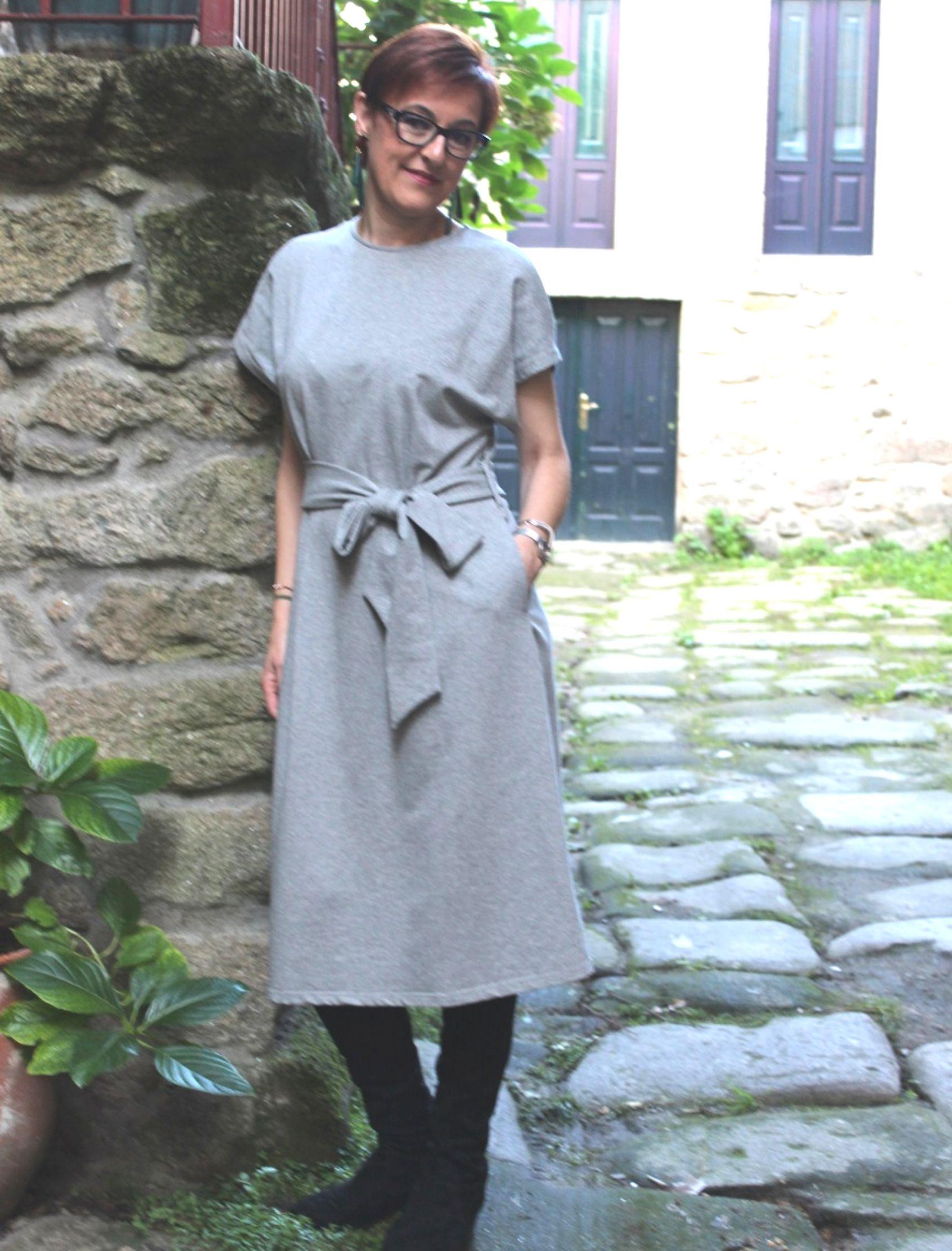 vestido jersey dress de algodon basico en gris marengo de paisie london