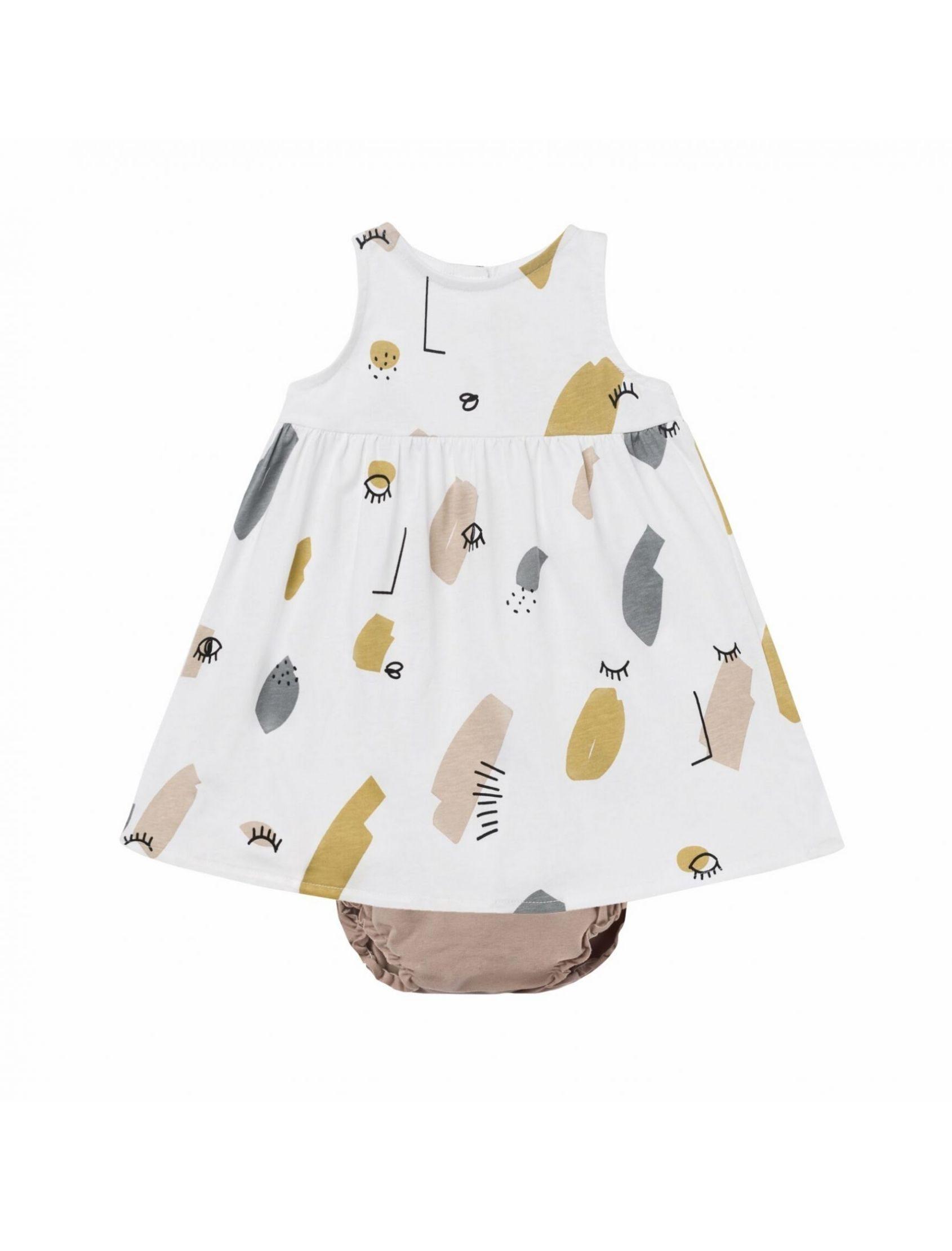 conjunto de vestido y braguita culotte twin de baby clic. Vestido con estampado multicolor y braguita tono nude