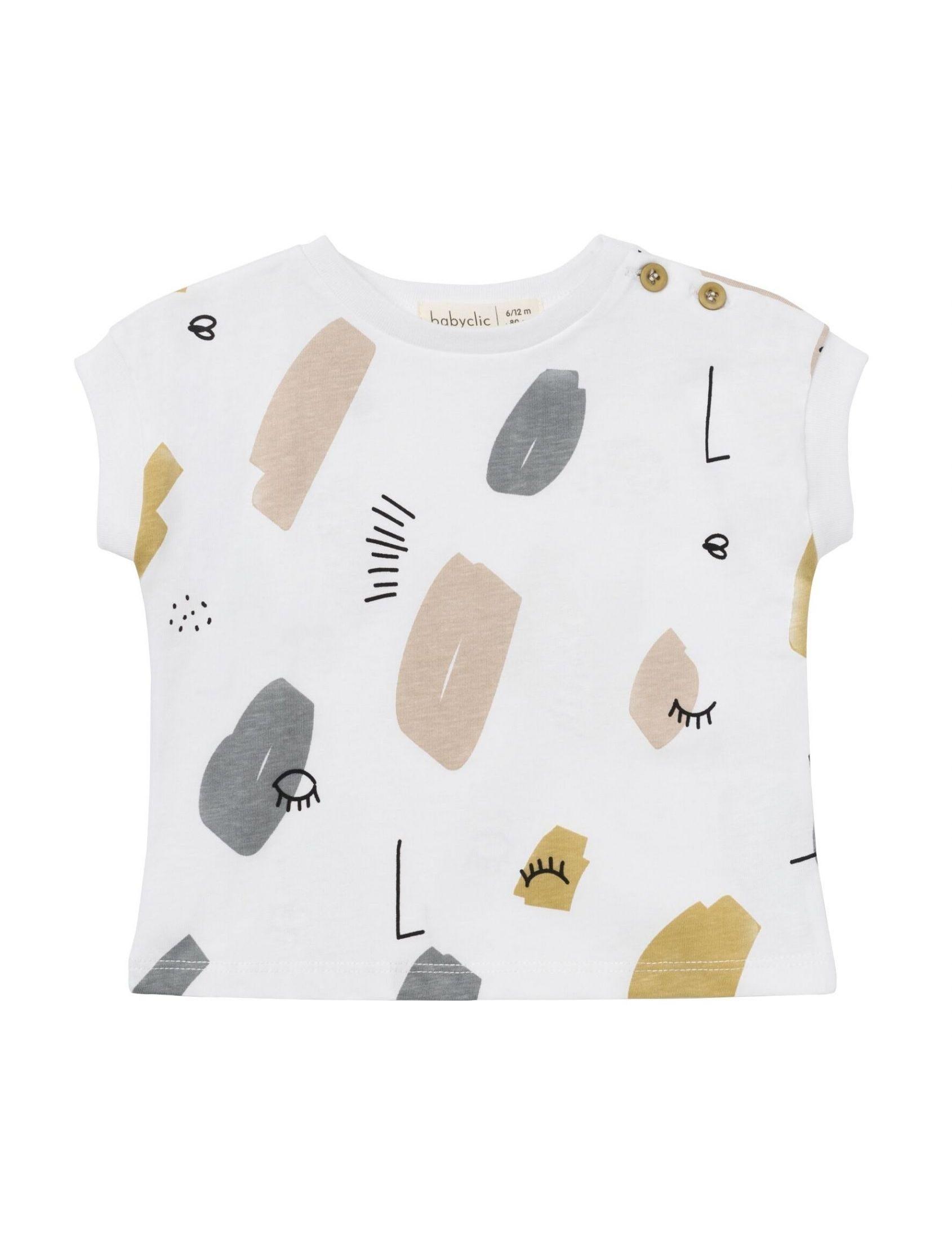 camiseta unisex twin de baby clic con fondo blanco y estampado geométrico multicolor