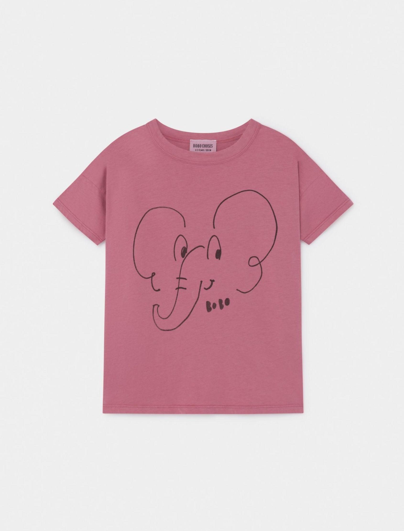 camiseta de algodón de niño con ilustración de elefante y manga corta