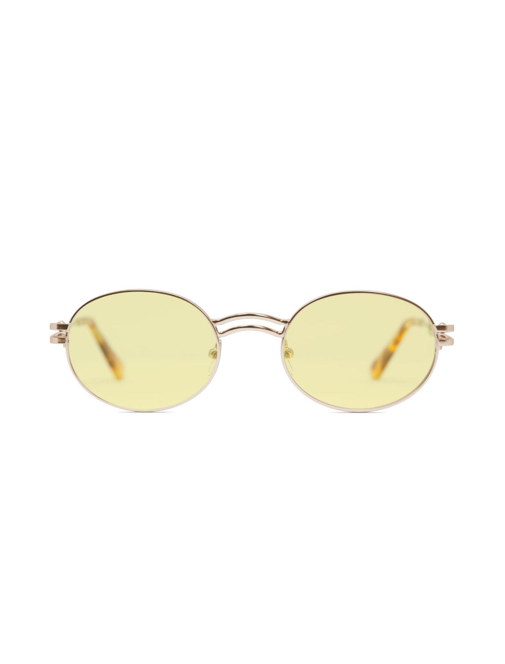 gafa de sol unisex kamy con montura dorada y lente amarillo