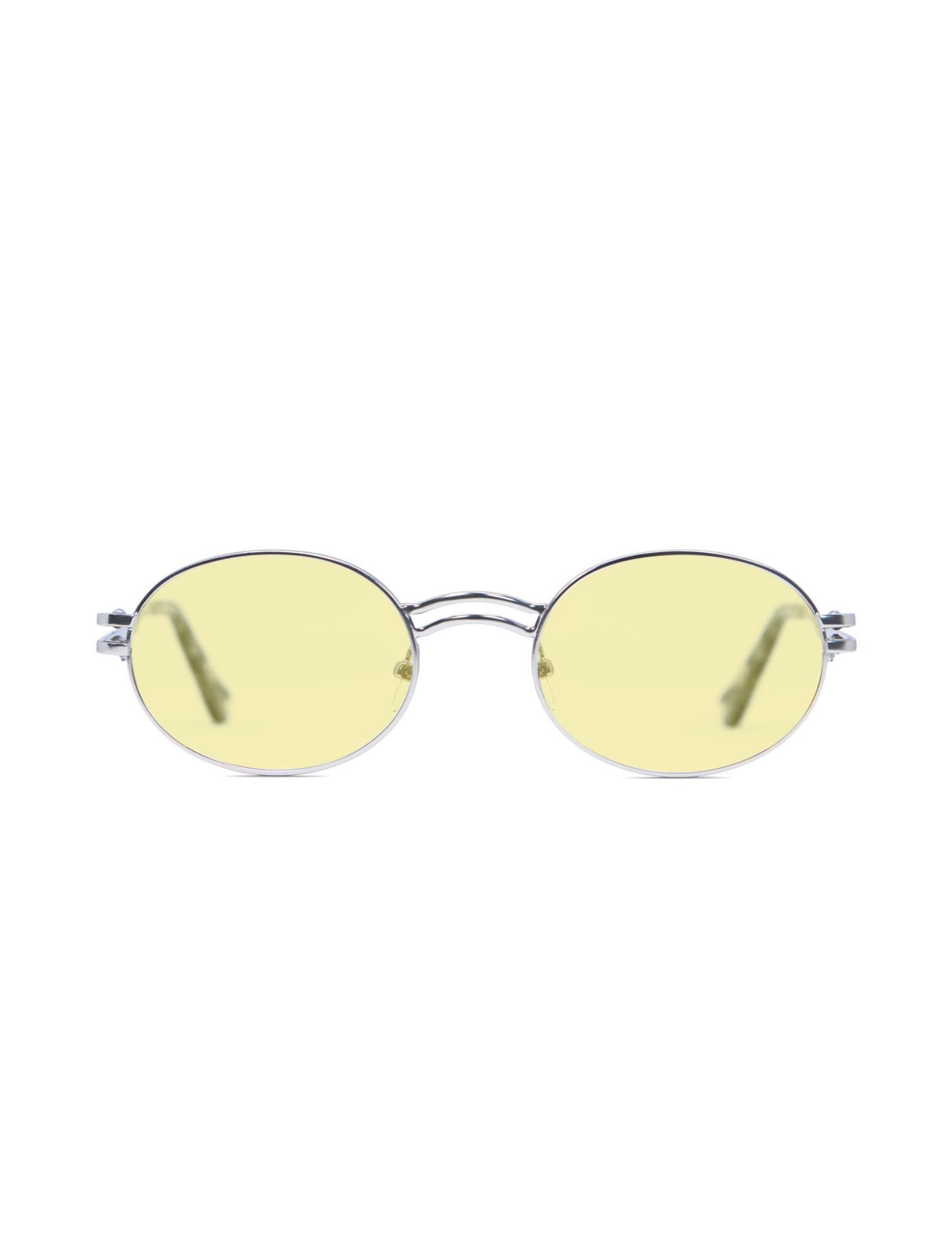 gafa de sol unisex kamy con montura plata y lente amarillo